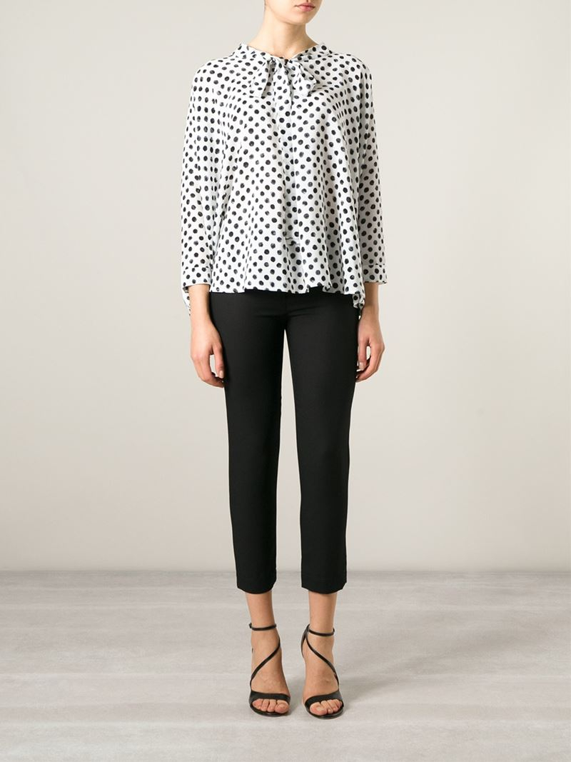 c7a4cc92 Dolce & Gabbana Pussy Bow Polka Dot Blouse in White - Lyst