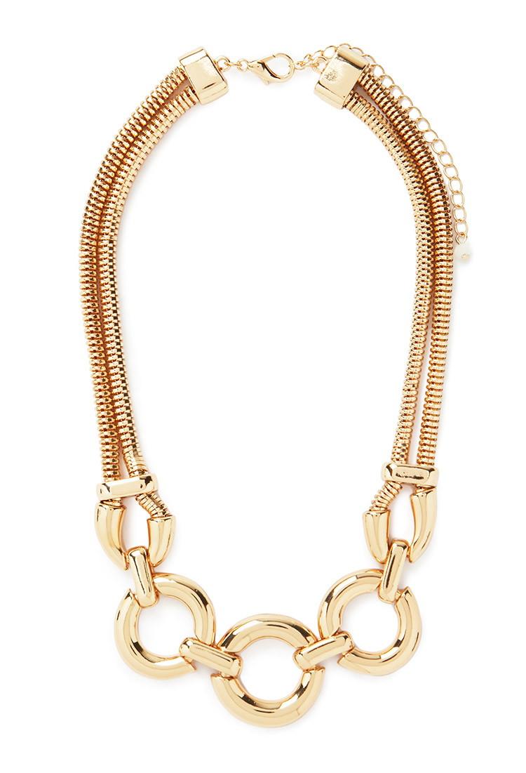 forever 21 circle pendant necklace in gold lyst. Black Bedroom Furniture Sets. Home Design Ideas