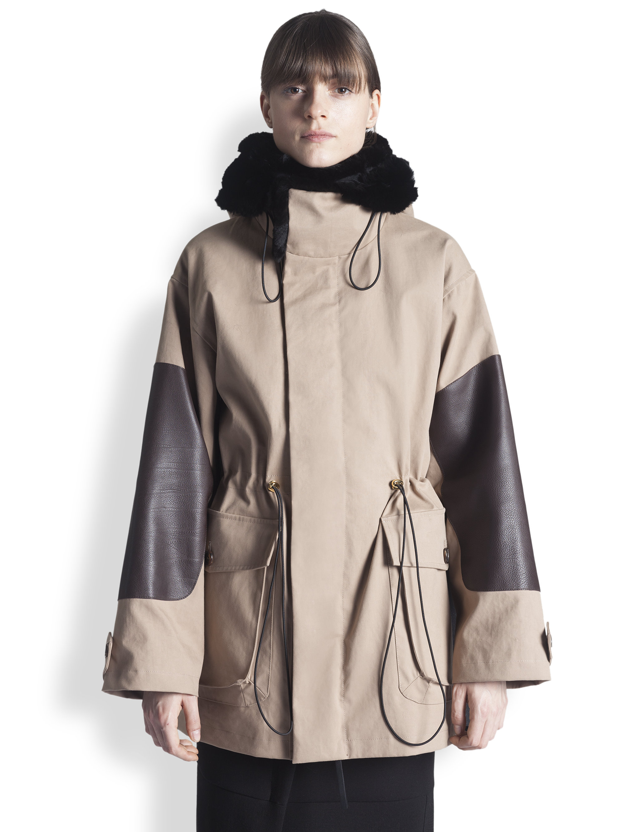 Marni Leather & Fur-Trimmed Parka in Brown | Lyst