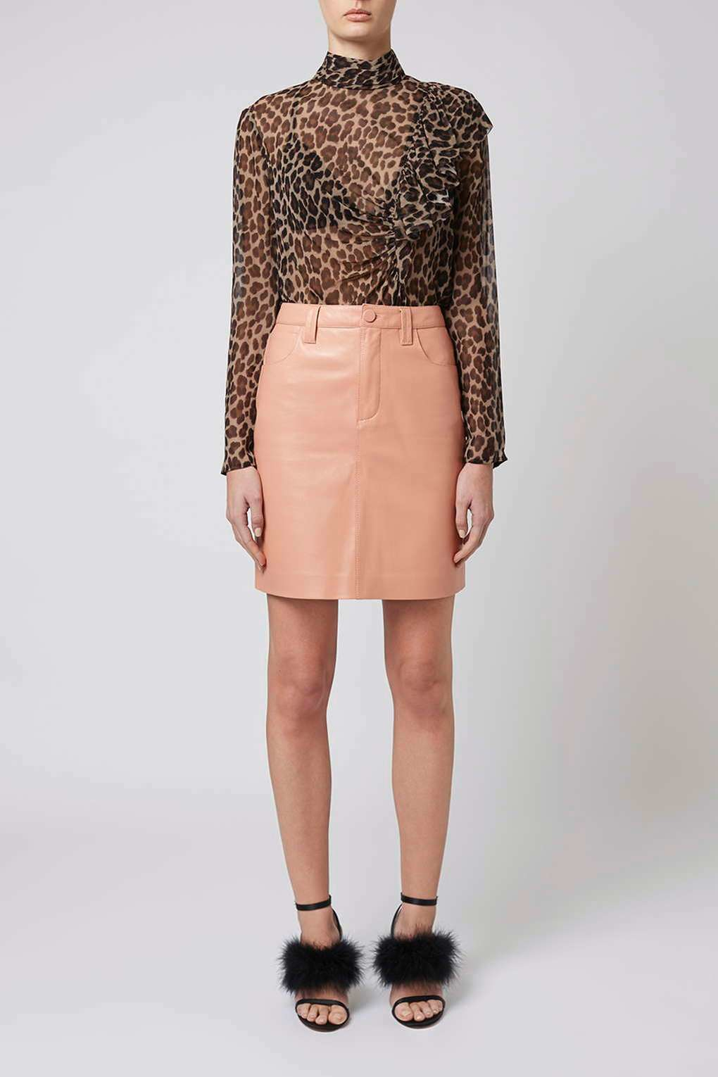 topshop draycott leather skirt by unique in brown lyst