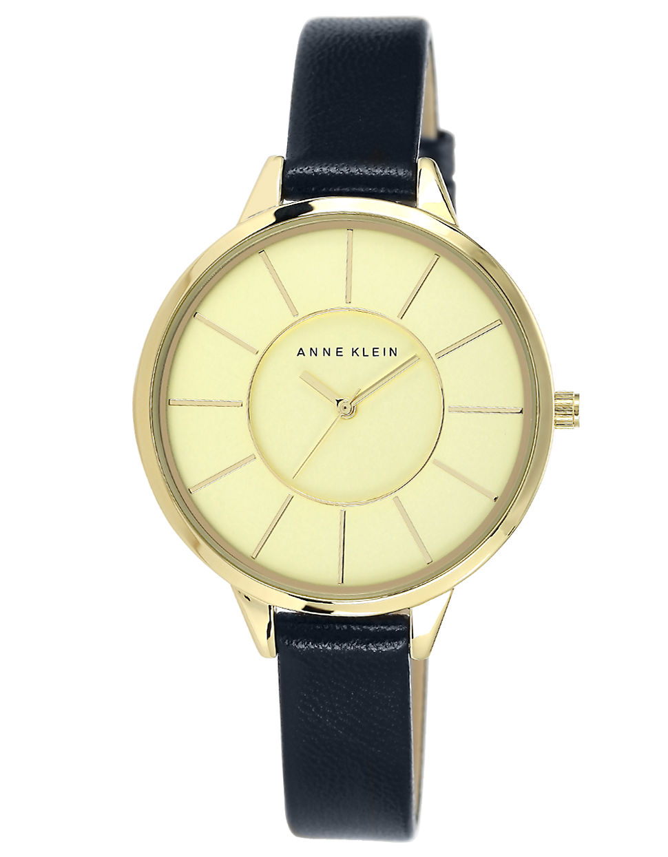 Anne klein ladies goldtone watch with leather strap in blue navy lyst for Anne klein leather strap