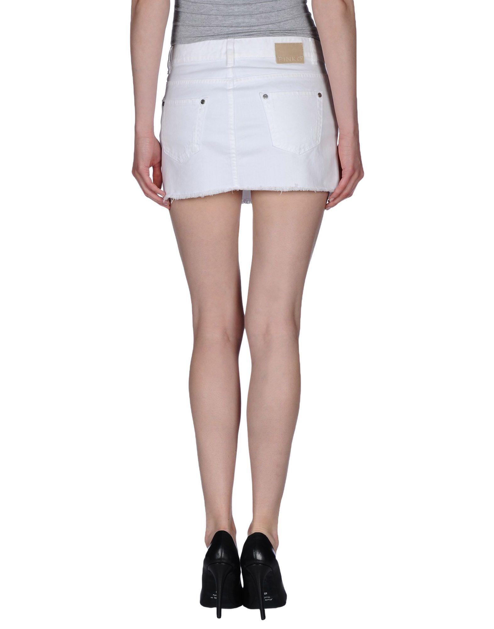 pinko denim skirt in white lyst