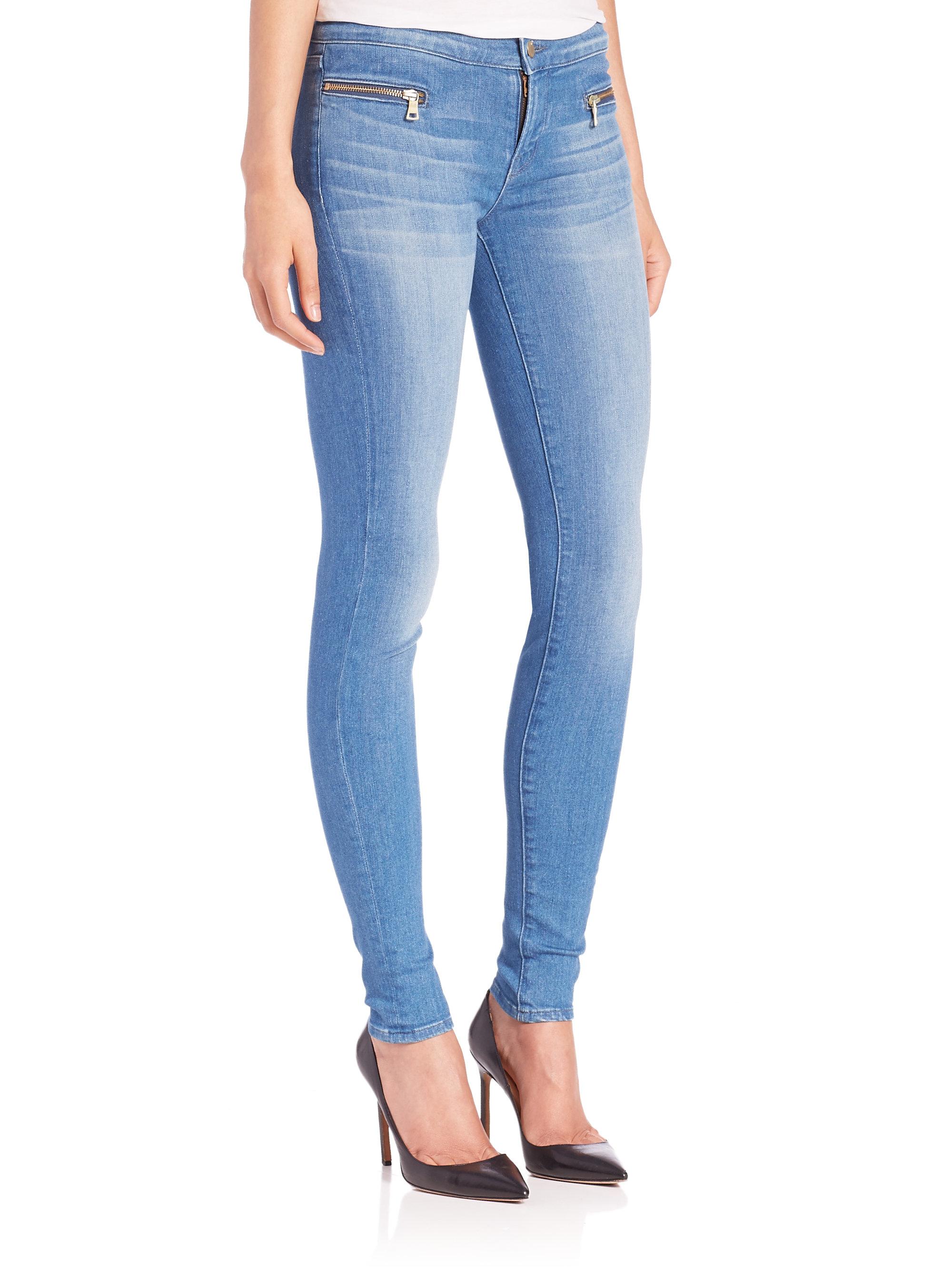 lyst j brand emma zip pocket skinny jeans in blue. Black Bedroom Furniture Sets. Home Design Ideas