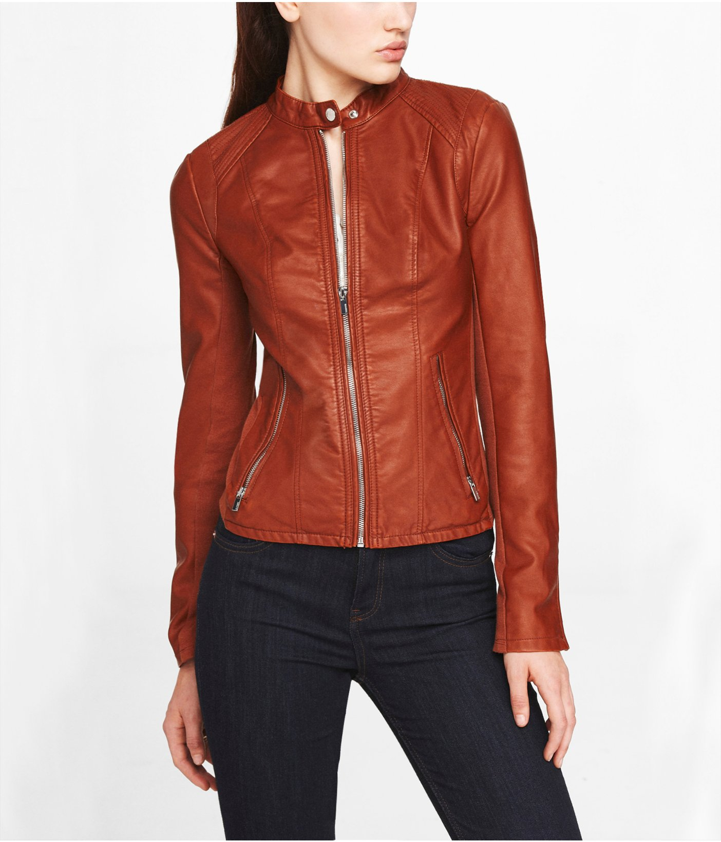 Express Minus The Leather Double Peplum Moto Jacket In