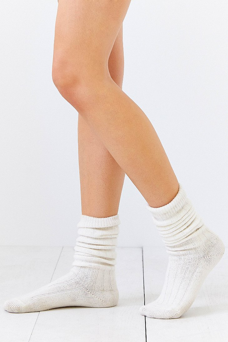 Lyst Urban Outfitters Ribbed Slouchy Crew Sock In White