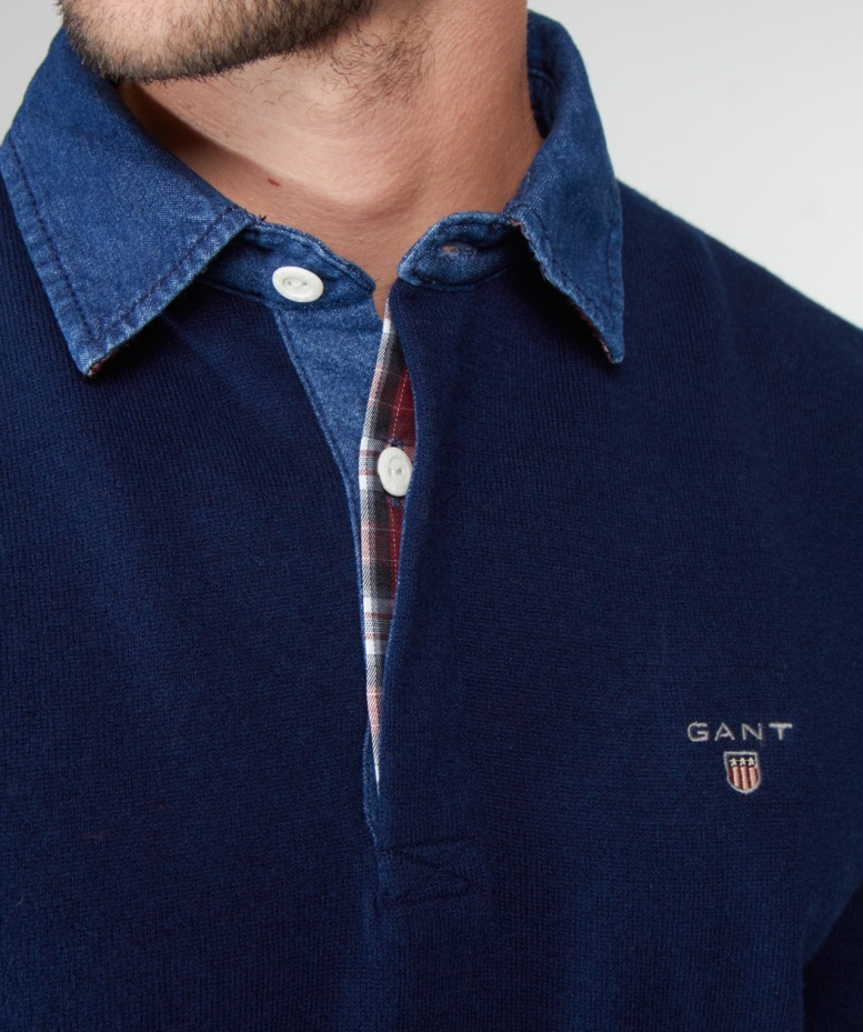 Lyst Gant Lambswool Polo Shirt In Blue For Men