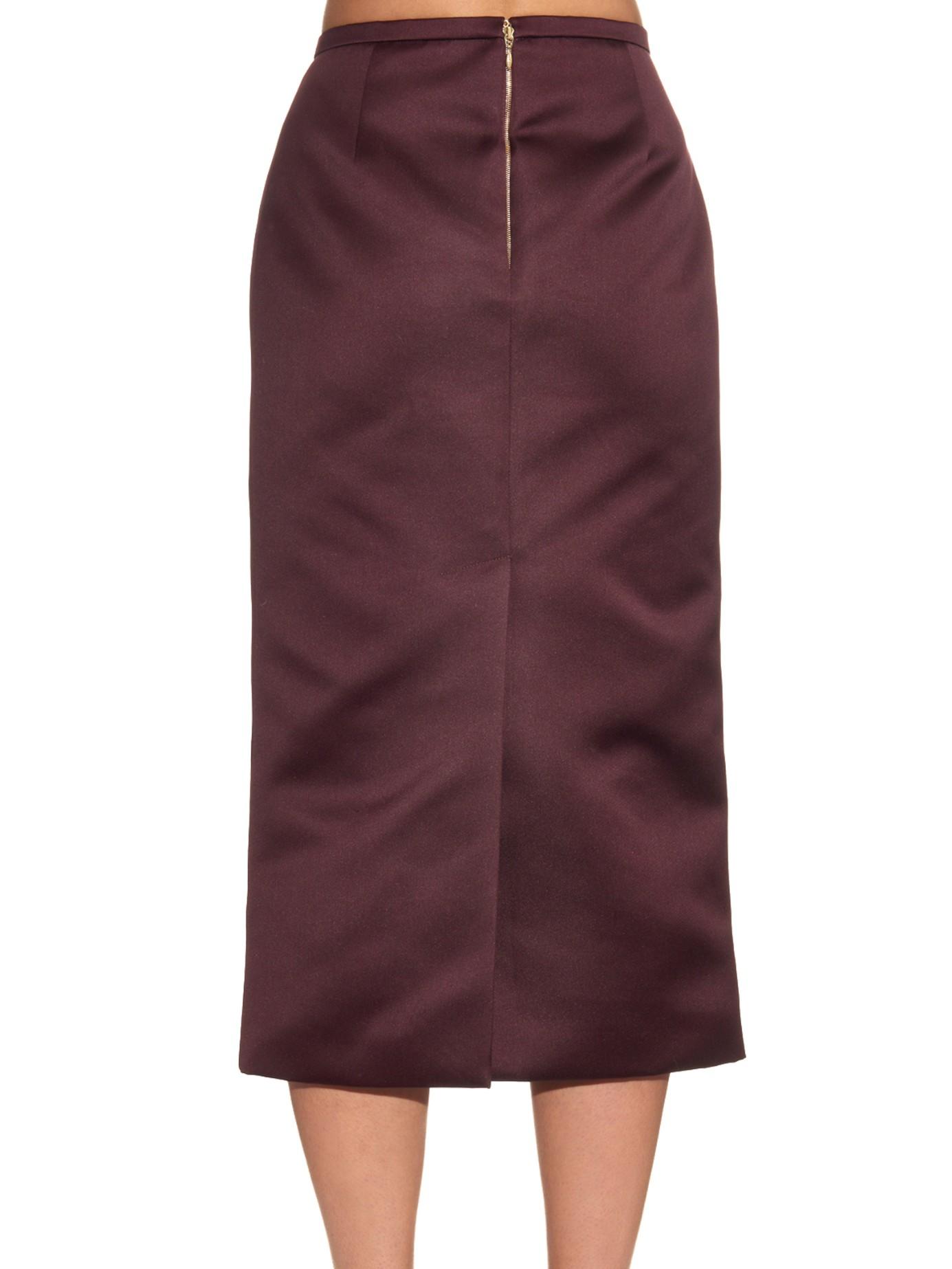 rochas glove embellished satin pencil skirt in purple lyst