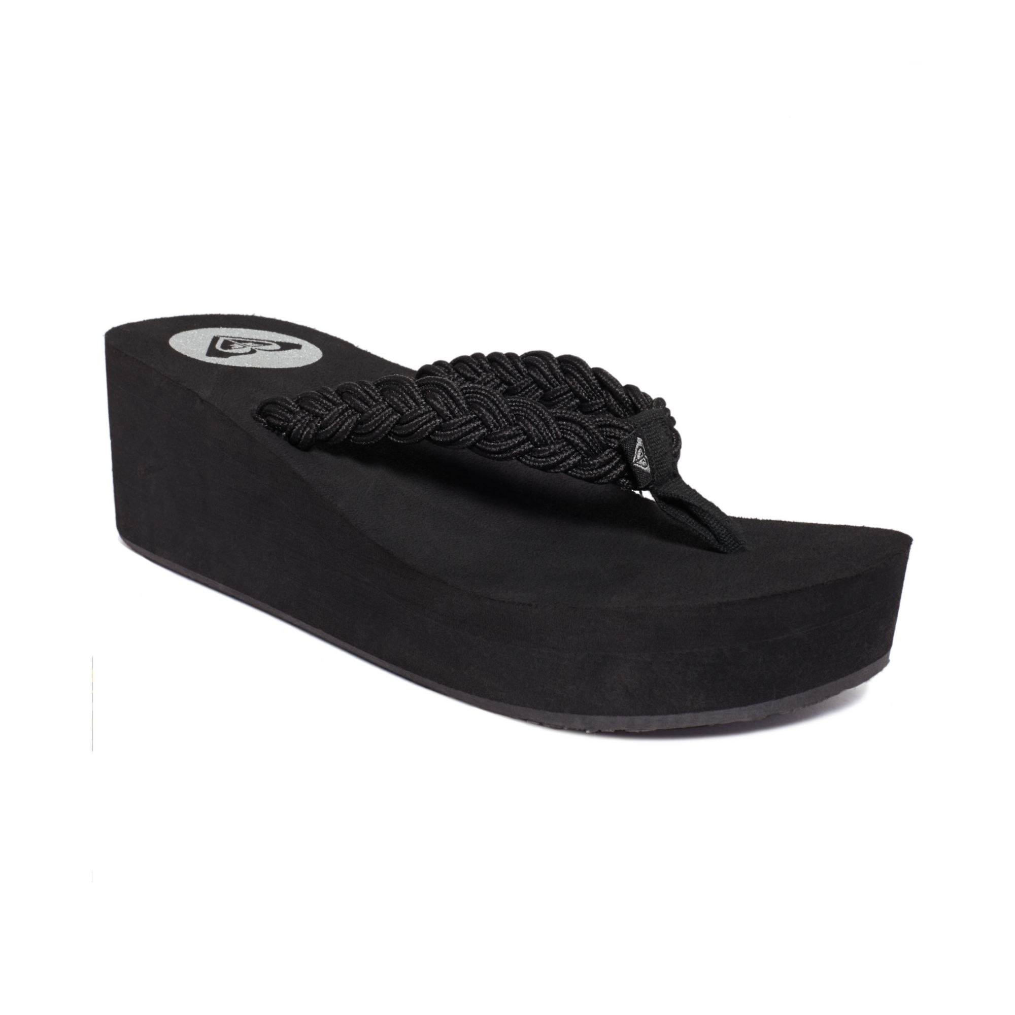 c88166832471 Roxy Tidal Wave Braided Wedge Thong Sandals in Black