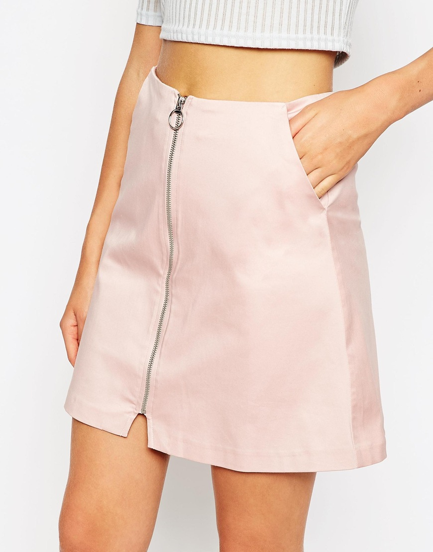Asos A-line Skirt With Zip Through Detail in Pink | Lyst
