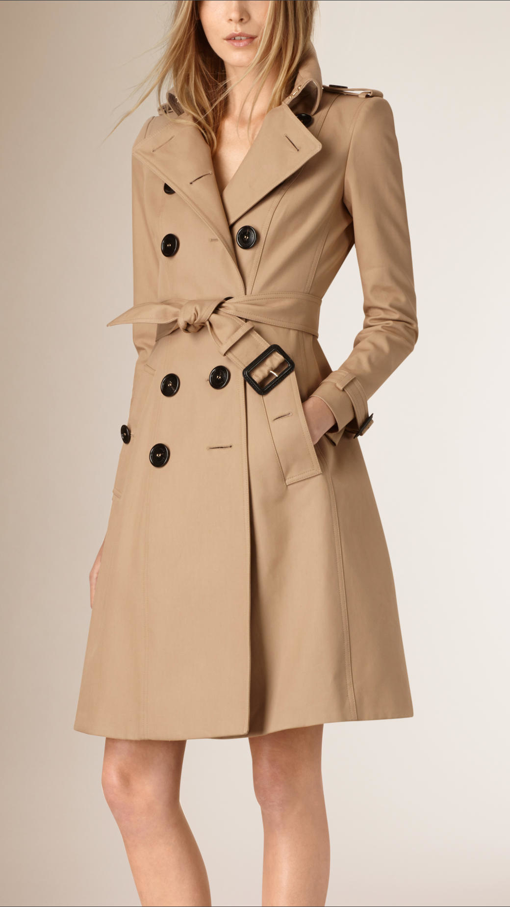 lyst burberry tapered waist cotton gabardine trench coat. Black Bedroom Furniture Sets. Home Design Ideas