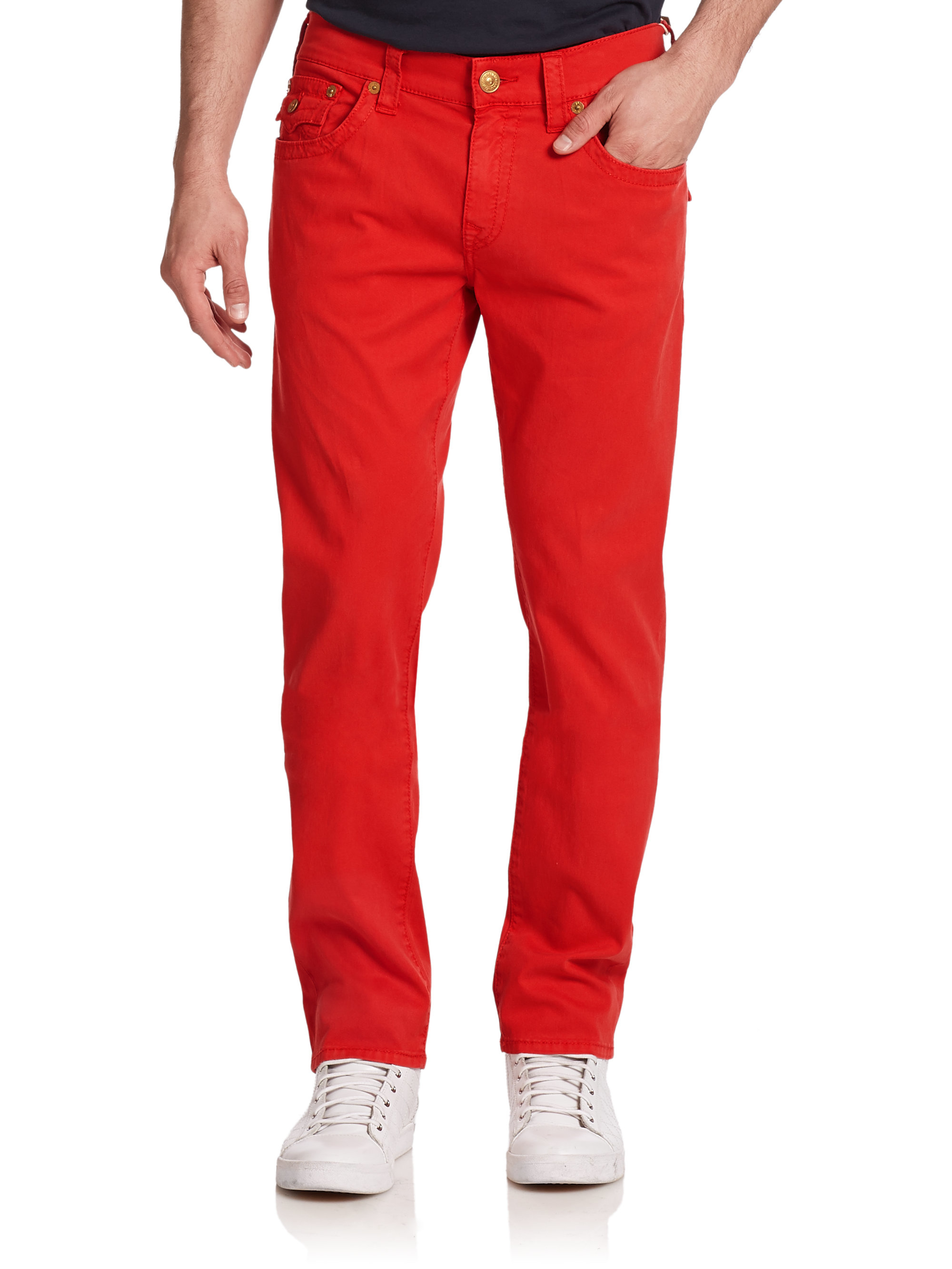True religion Geno Slim Straight-Leg Jeans in Red for Men | Lyst
