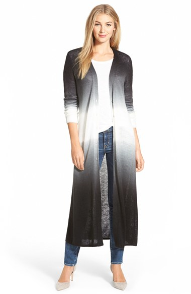 Two by vince camuto Dip Dye Duster Cardigan in Black | Lyst