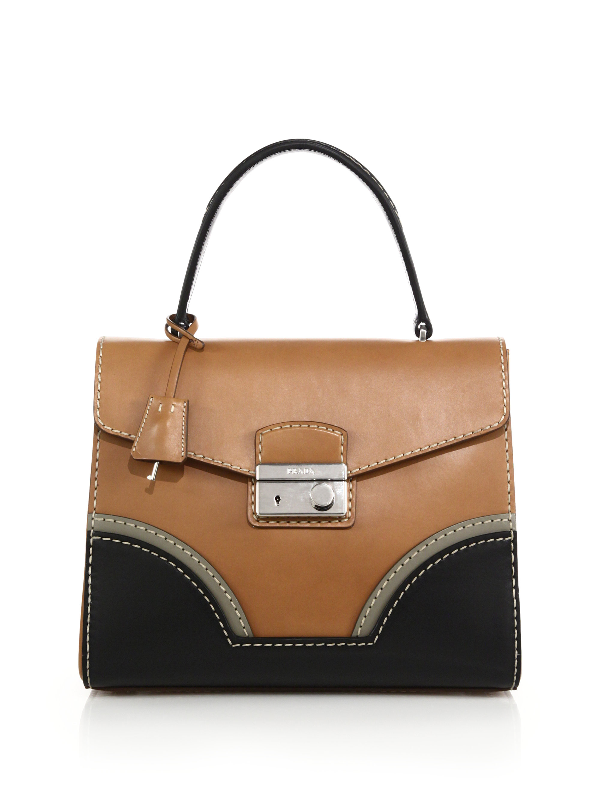 Lyst - Prada Calf Leather Top-handle Bag in Brown 6f15747bf4c3f