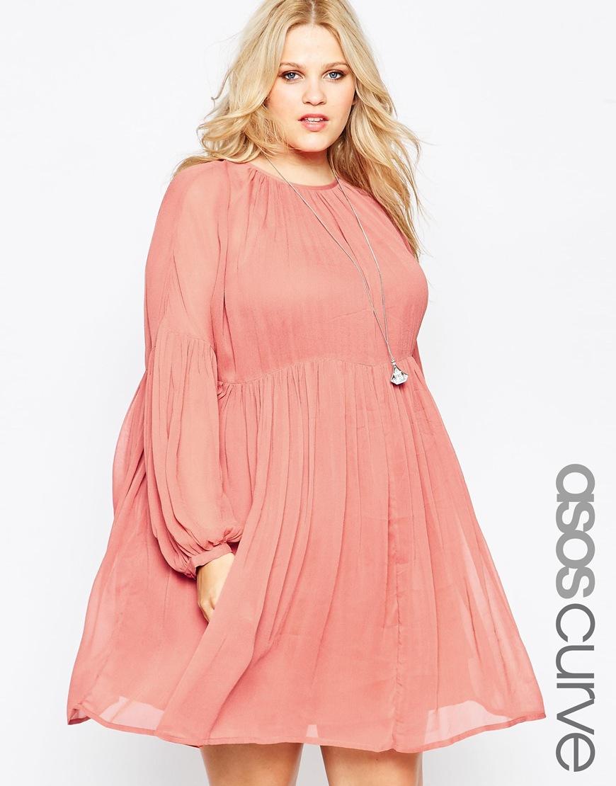 c36cac8b1dc Lyst - ASOS Curve Soft Babydoll Dress in Pink
