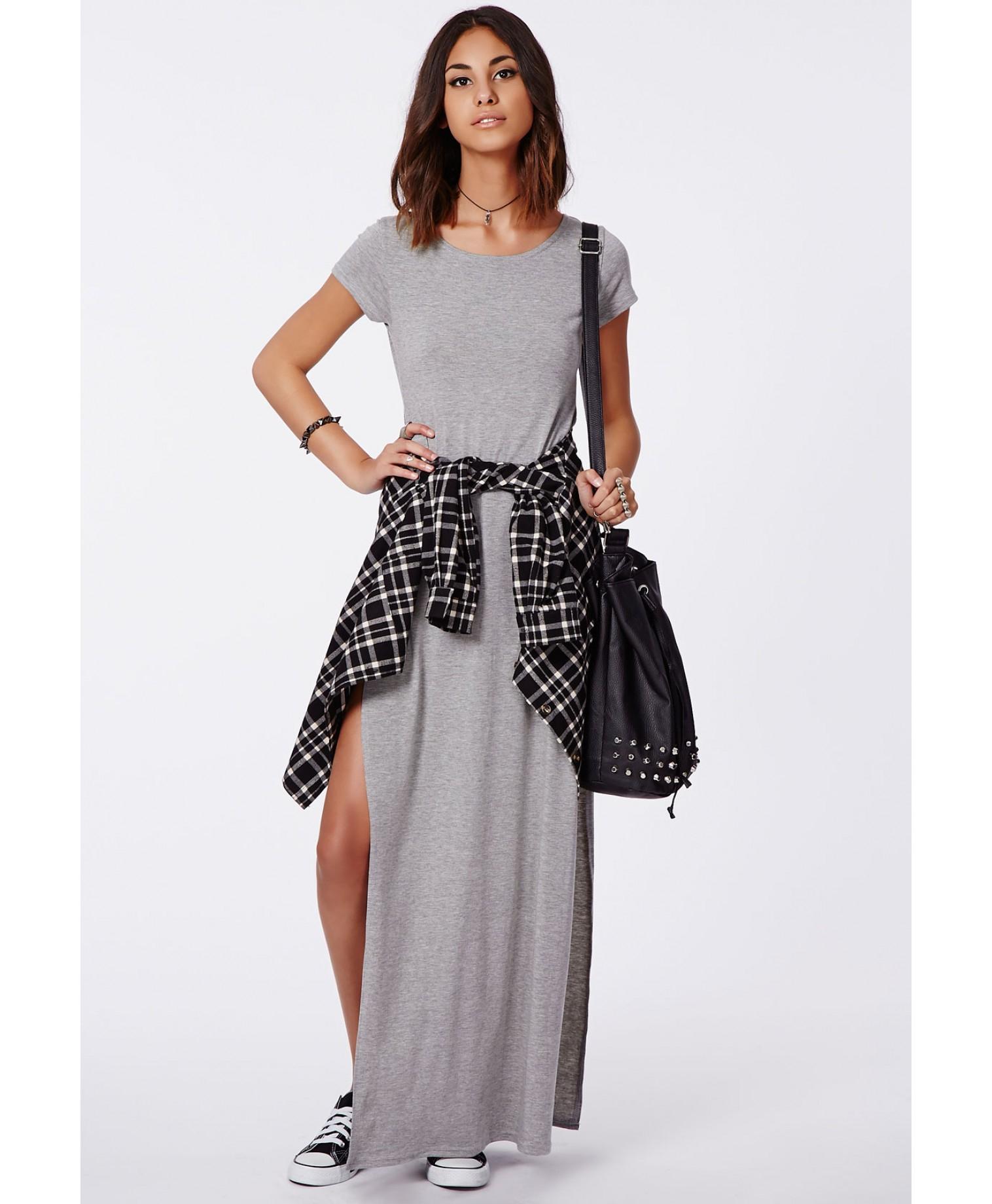 c3fa660d26 T Shirt Maxi Dress With Side Slits - Data Dynamic AG