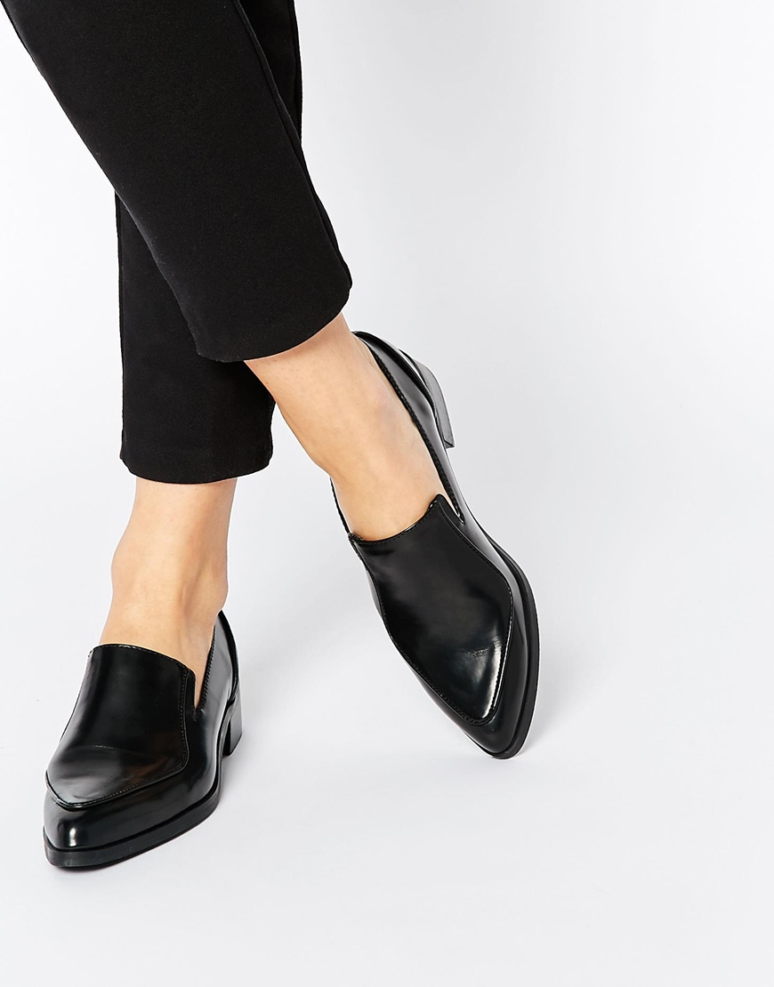 d0aa04f30f61 Lyst - ASOS Miles Pointed Flat Shoes in Black