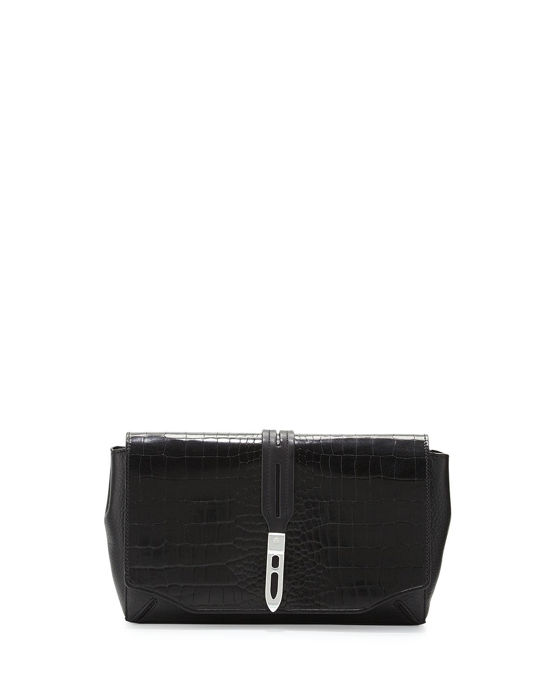 yves saint laurent replica handbags - grain 5/6 croc-stamped flap clutch bag, black
