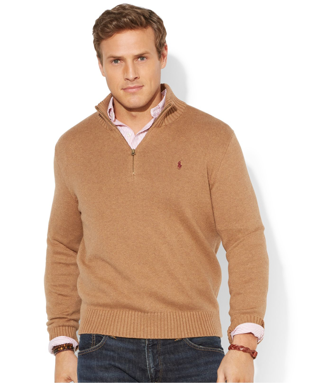 Polo sweater half zip sweater tunic for Mens sweater collared shirt