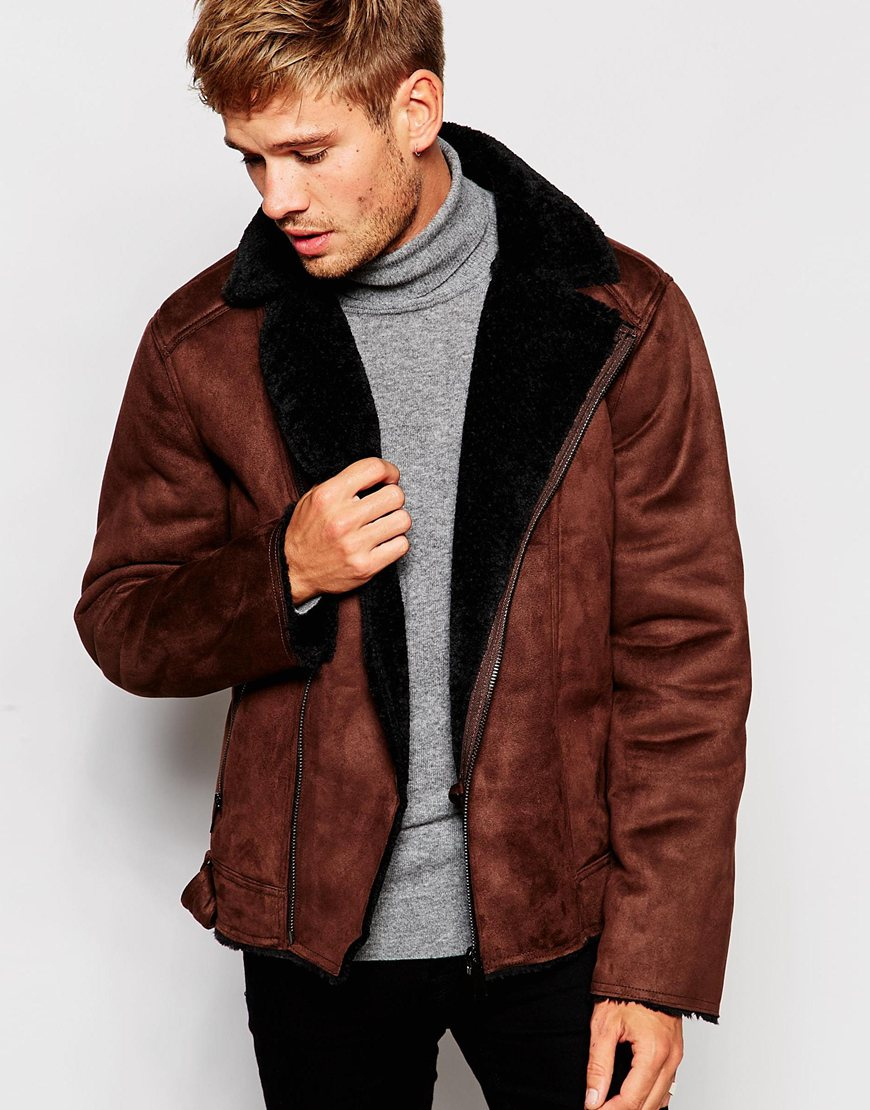 Mens Brown Faux Leather Biker Jacket - Jacket