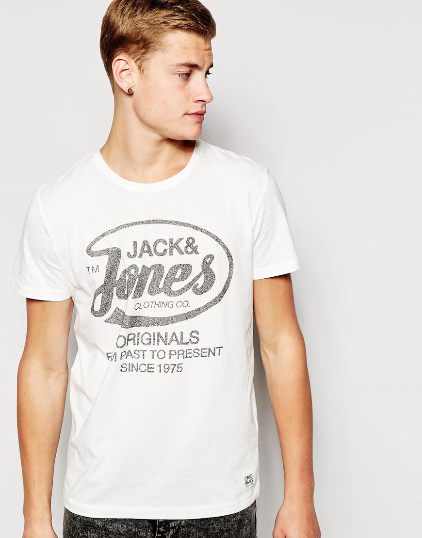 jack jones t shirt with originals print in white for men. Black Bedroom Furniture Sets. Home Design Ideas