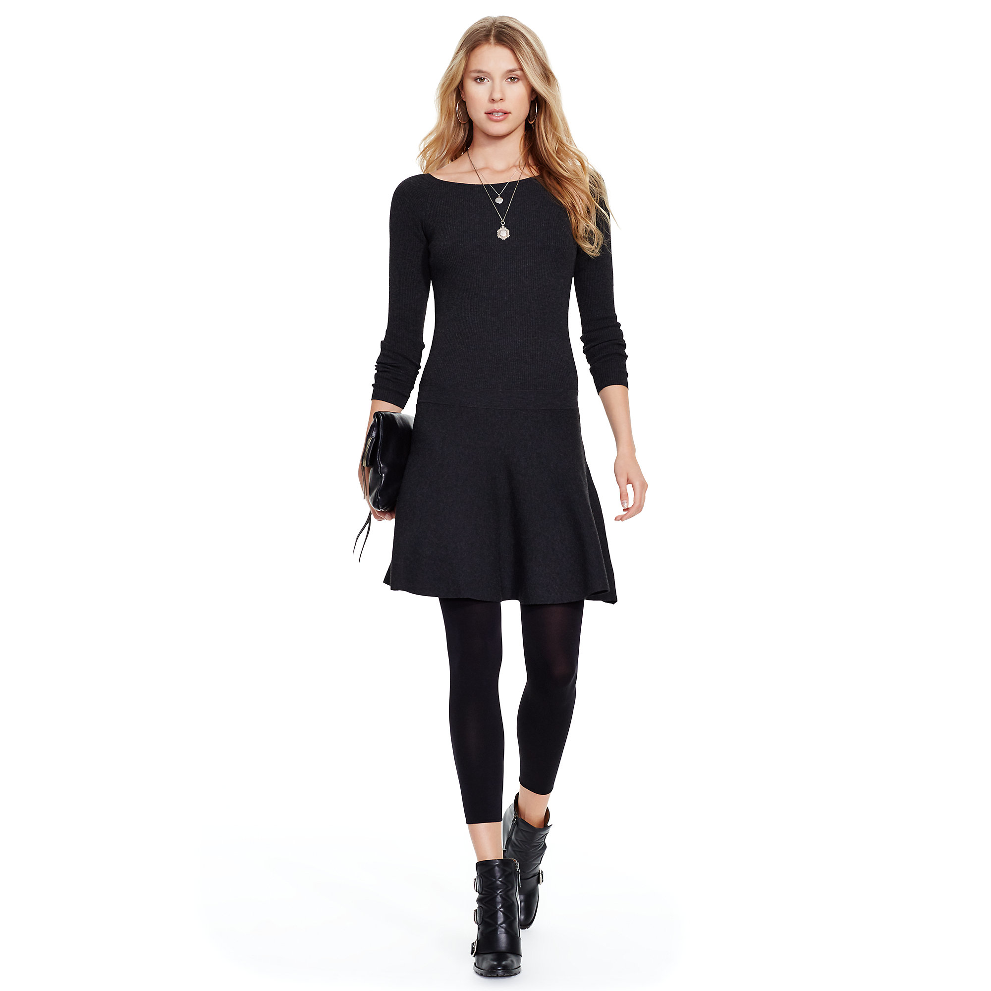 Lyst Polo Ralph Lauren Ribbed Sweater Dress In Black