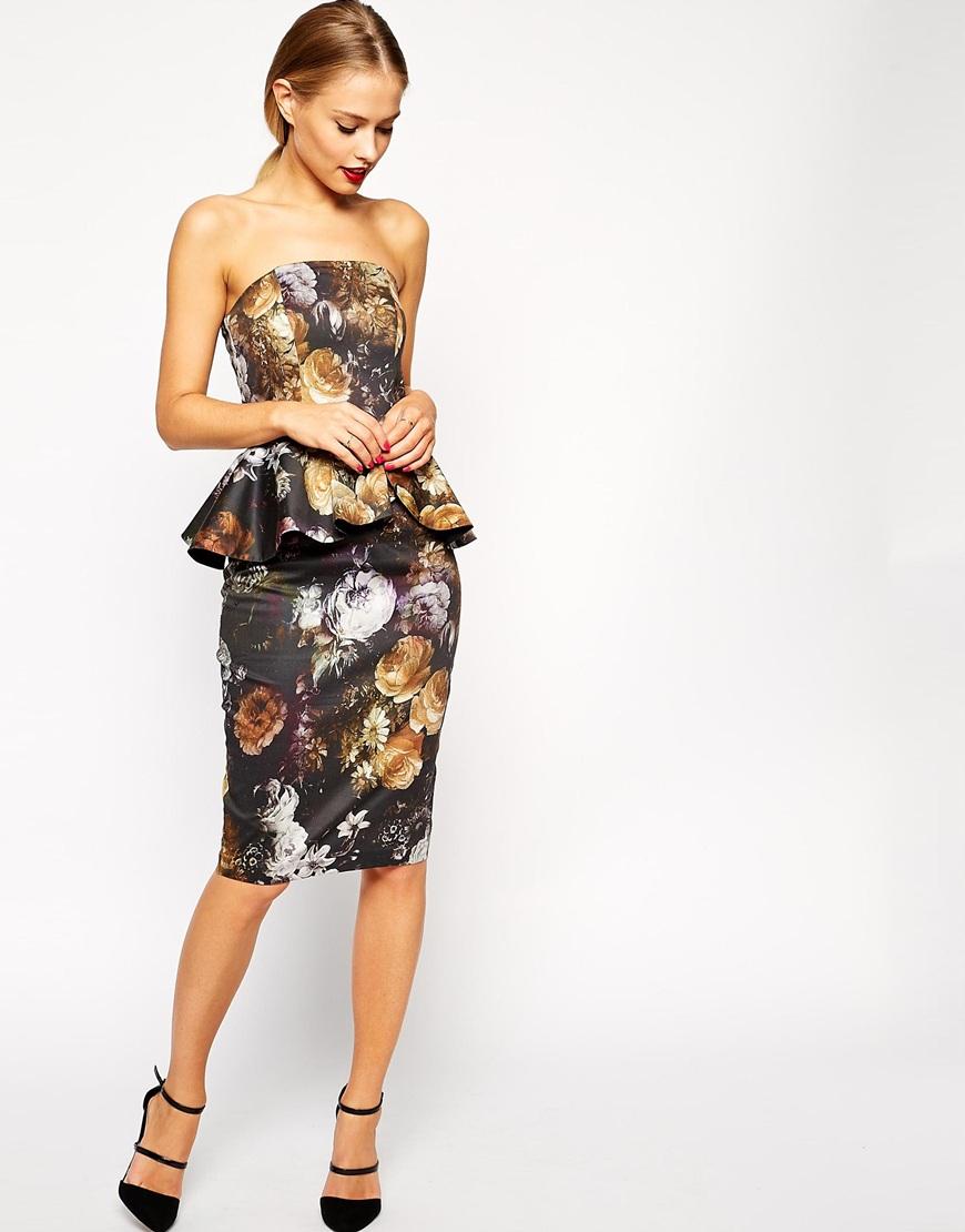 f7675f7045c Lyst - ASOS Smokey Floral Peplum Dress