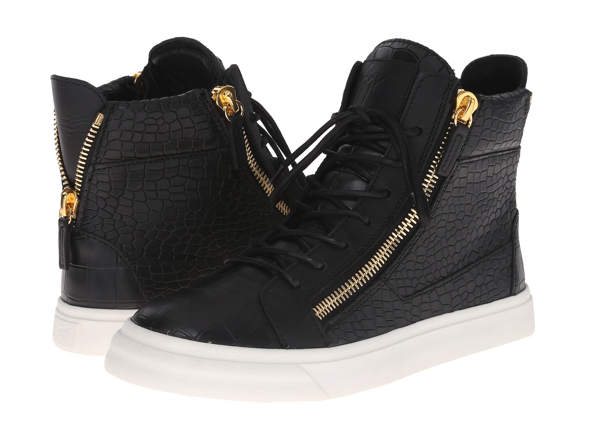 giuseppe zanotti rs6012 double zip croc hi top sneaker us. Black Bedroom Furniture Sets. Home Design Ideas