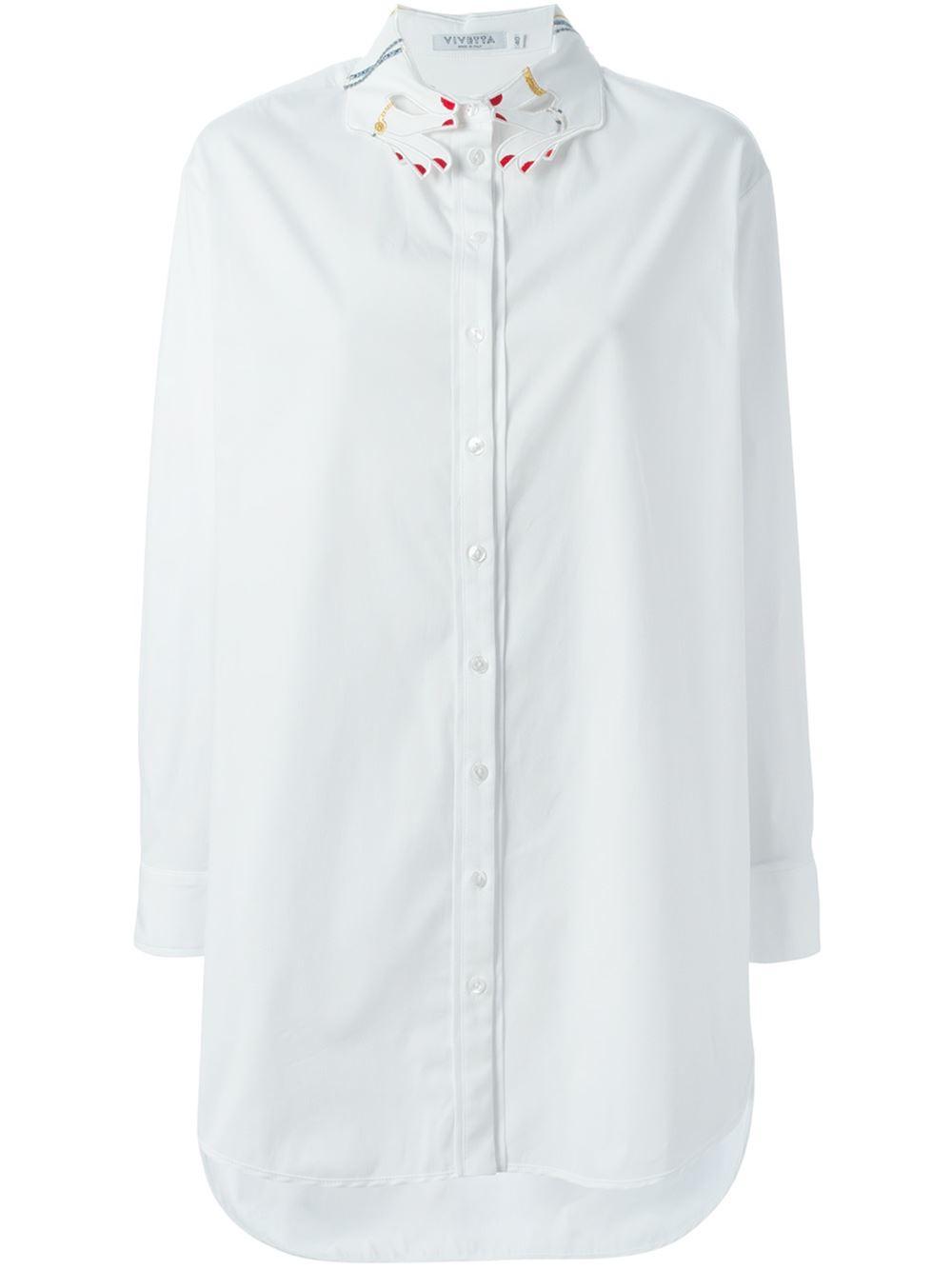 Lyst Vivetta Hands Embroidered Collar Shirt In White