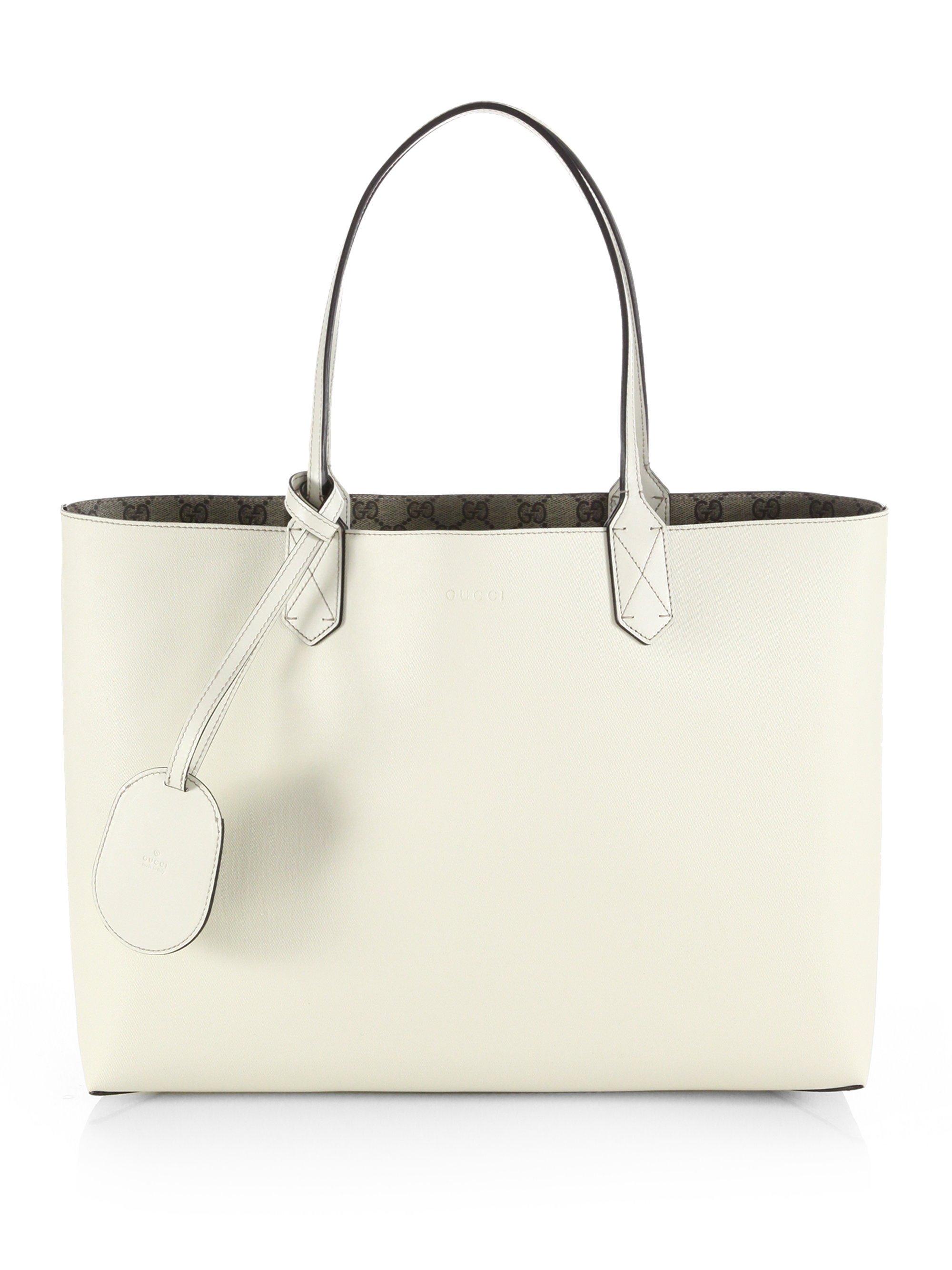 682e6da23111 Gucci Reversible Gg Leather Tote in White for Men - Lyst