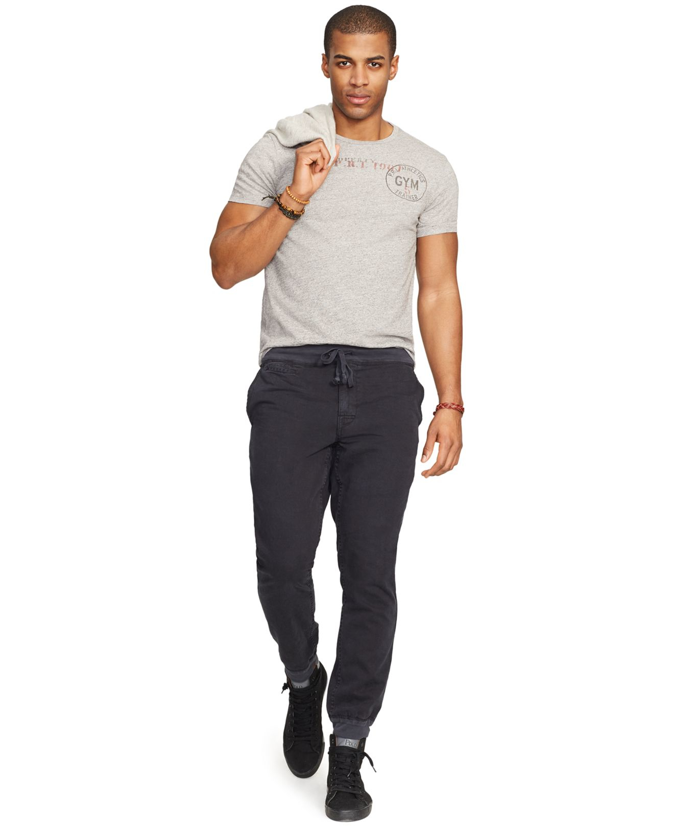 polo ralph athletics graphic t shirt in gray for