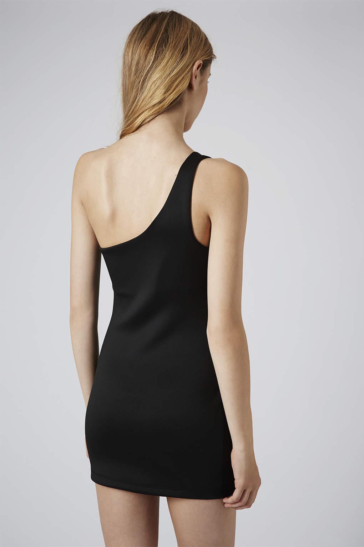 Lyst Topshop One Shoulder Zip Mini Dress In Black