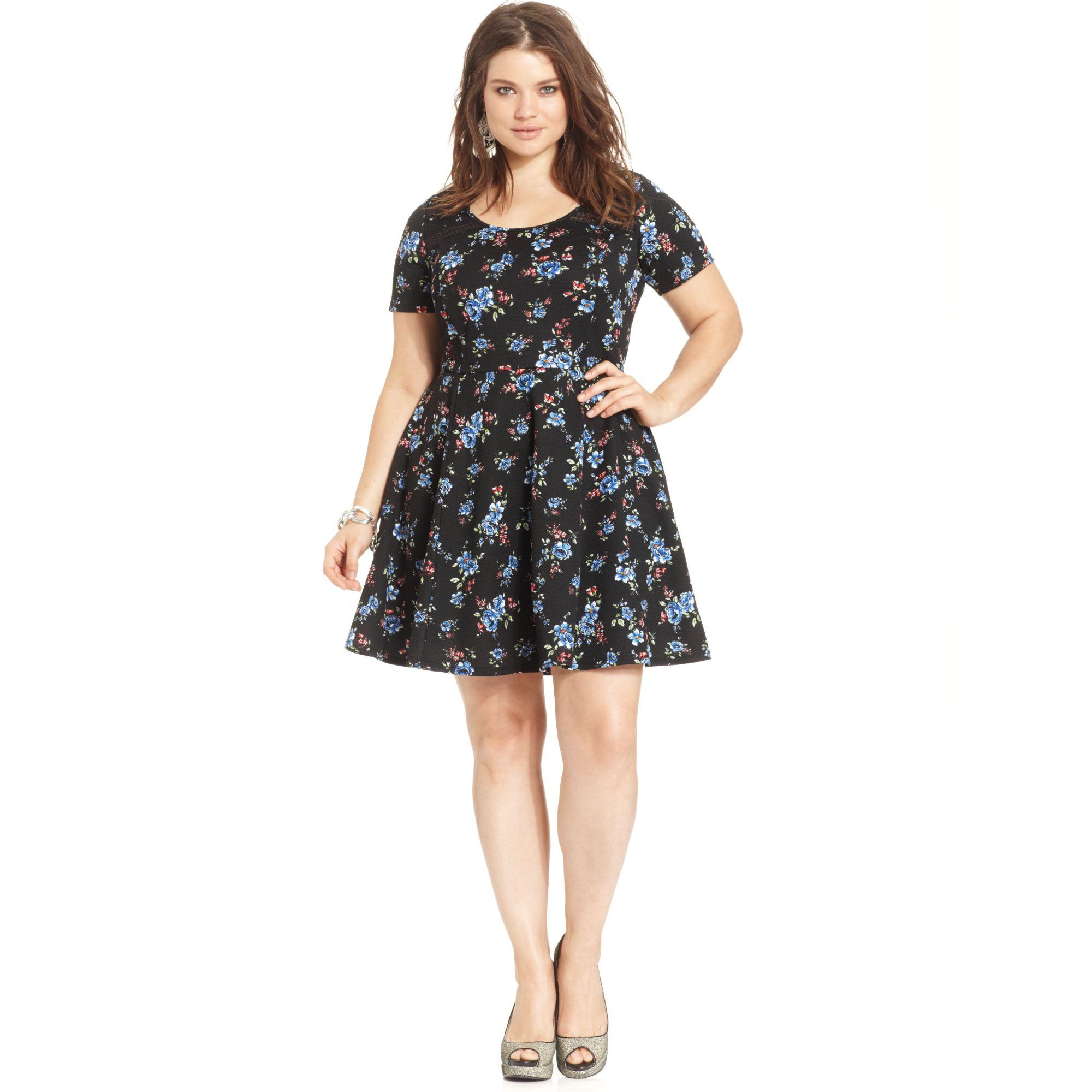 e6b1e806c593fa Lyst - Jessica Simpson Plus Size Short Sleeve Floral Print Dress