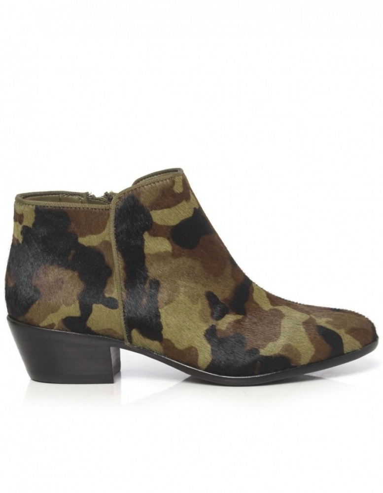 sam edelman camouflage calf fur ankle boots in green lyst