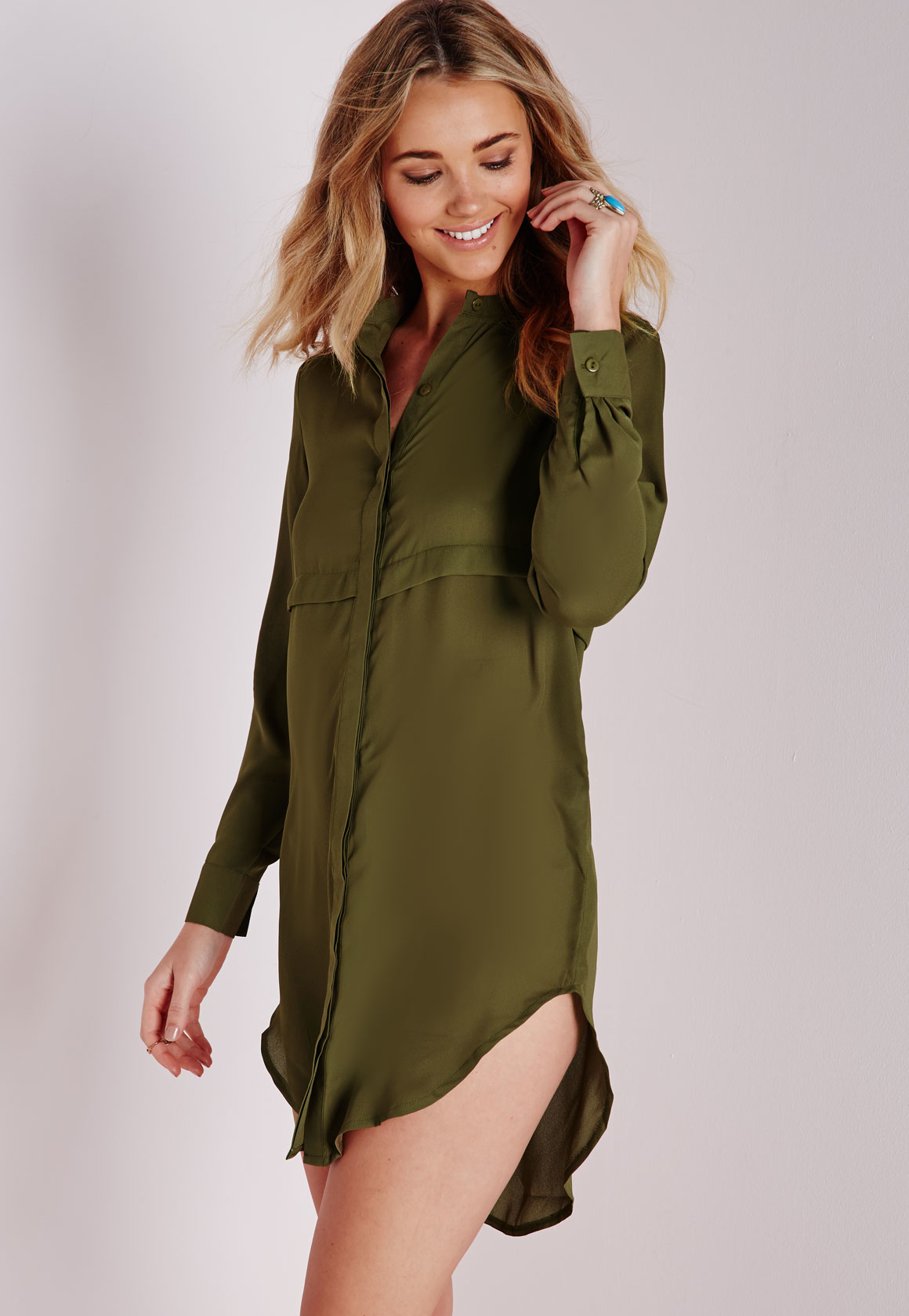 lyst missguided oversized shirt dress khaki in green