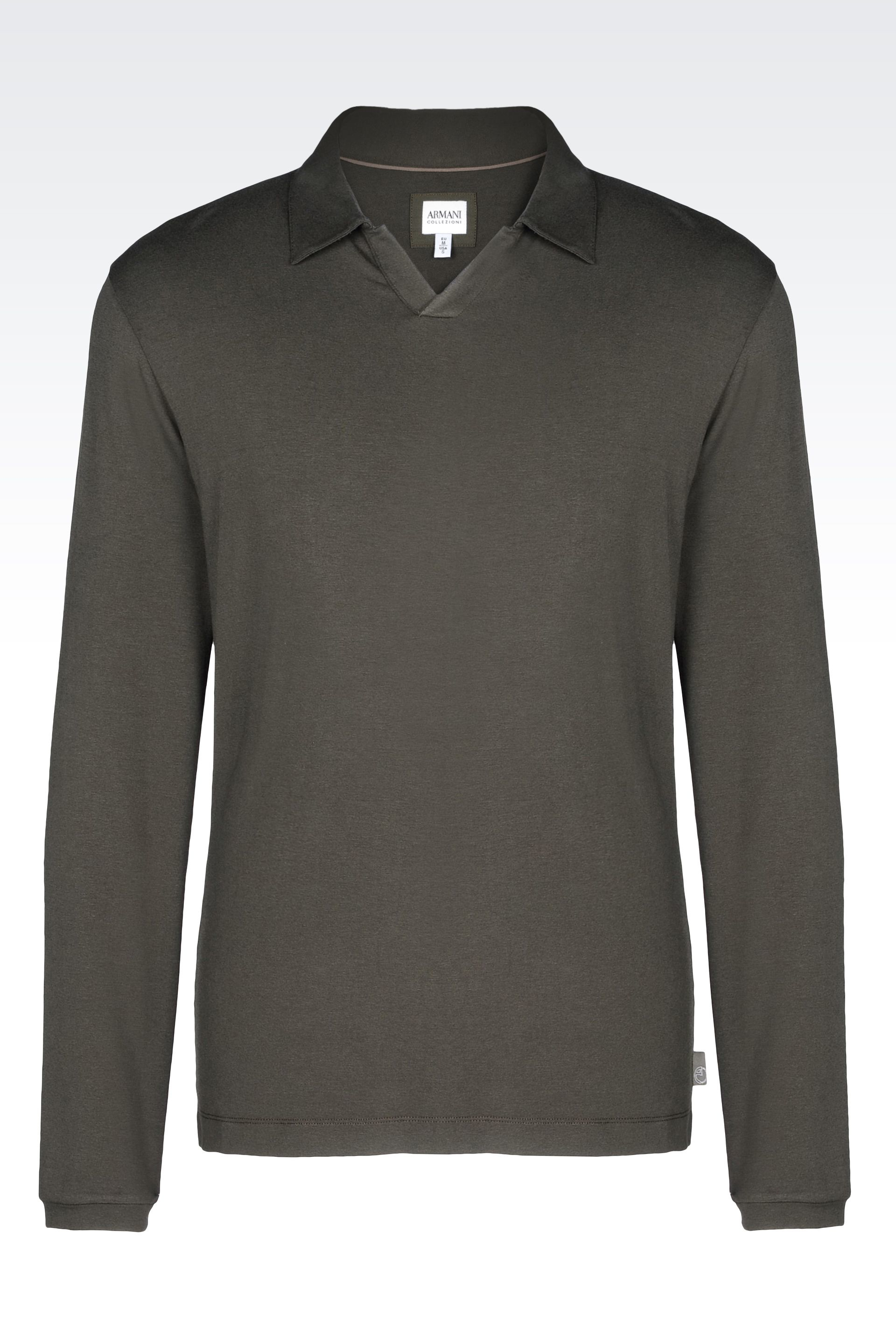 Armani polo shirt in stretch viscose jersey in green for for Dark green mens polo shirt
