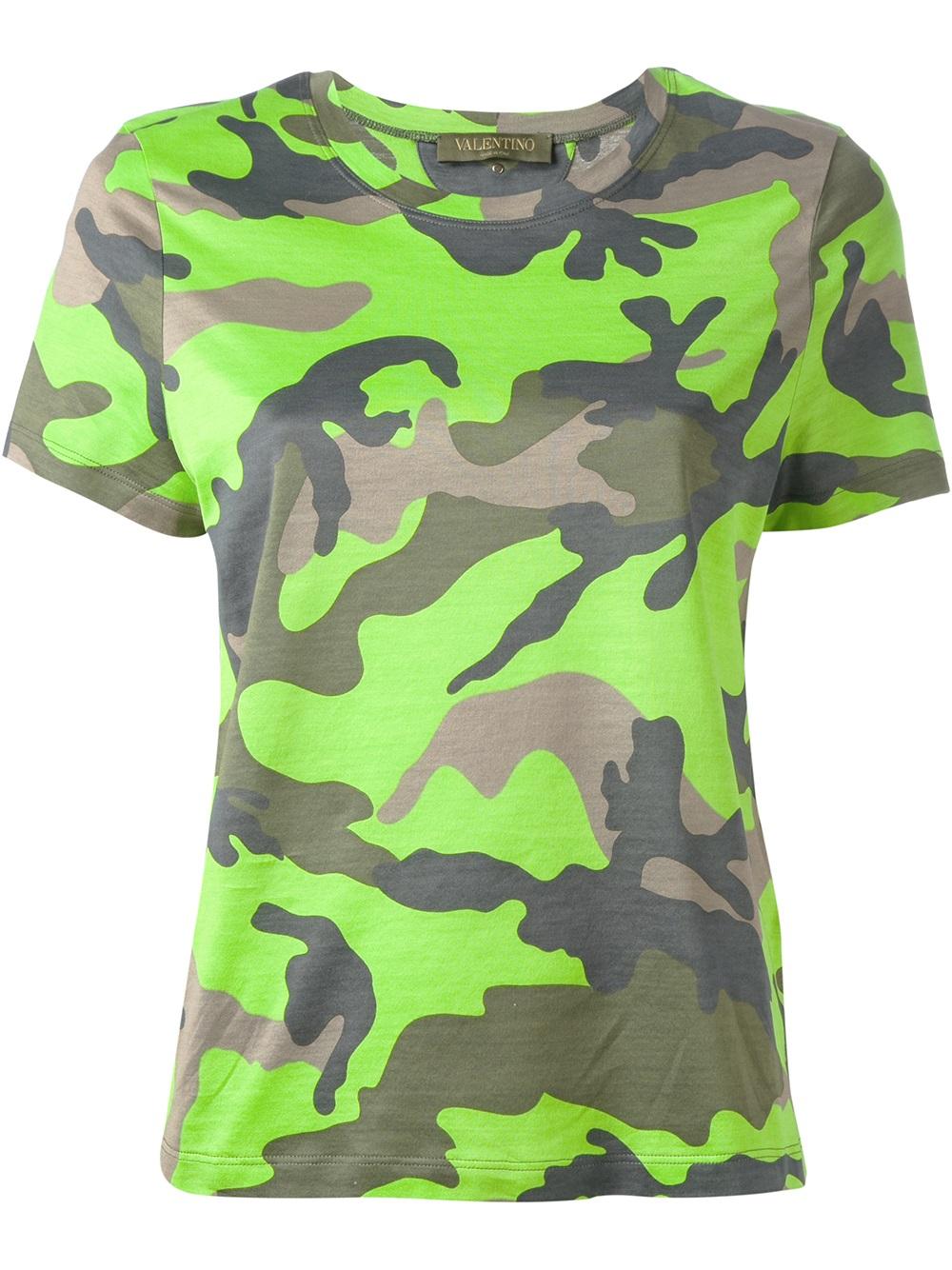 Valentino Camouflage Tshirt In Green Lyst