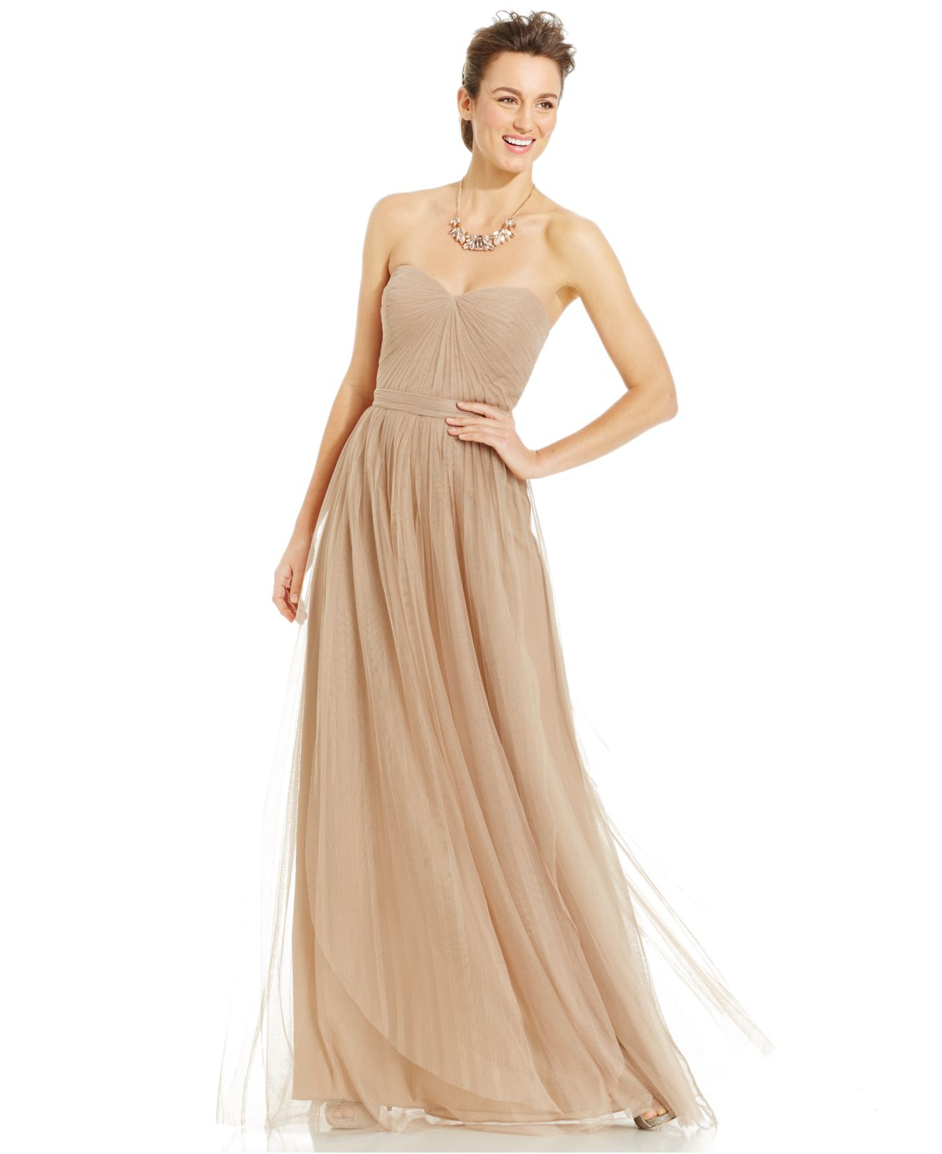 Lyst - Adrianna Papell Pleated Strapless Tulle Gown in Natural
