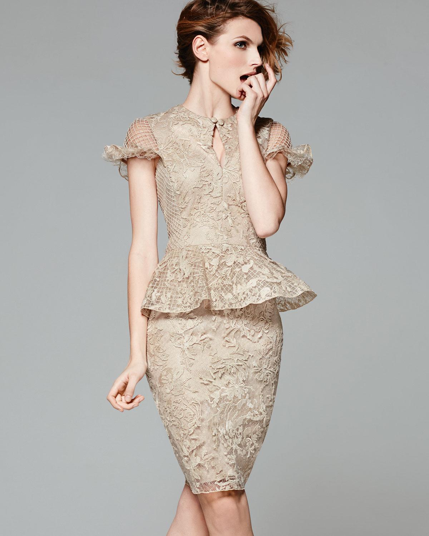 Lyst - Tadashi Shoji Capsleeve Lace Peplum Cocktail Dress in Natural