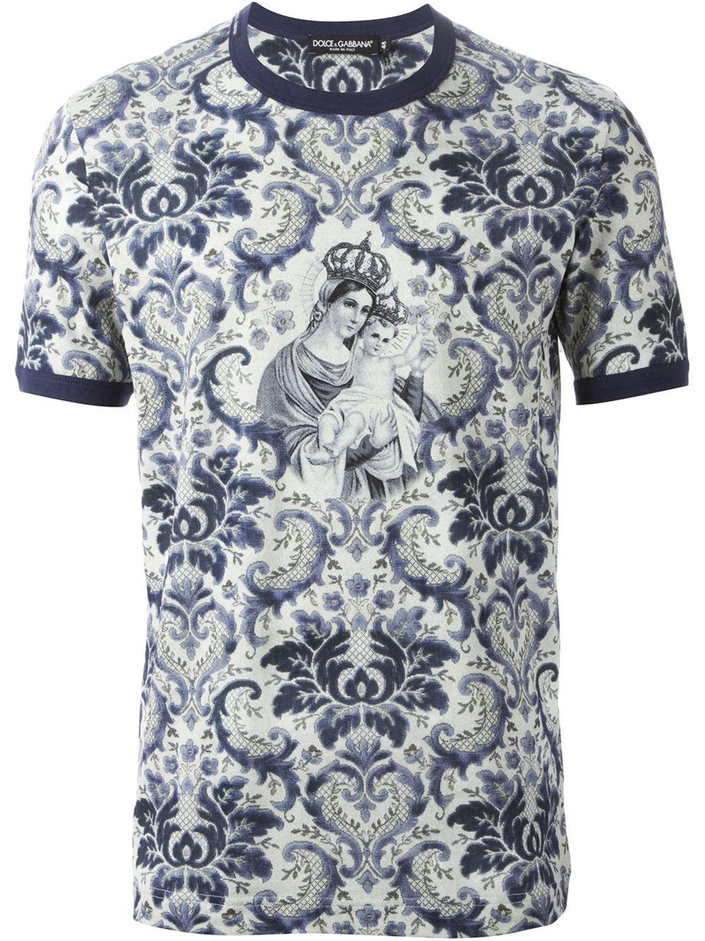 dolce gabbana crowned madonna floral t shirt in gray for men blue lyst. Black Bedroom Furniture Sets. Home Design Ideas