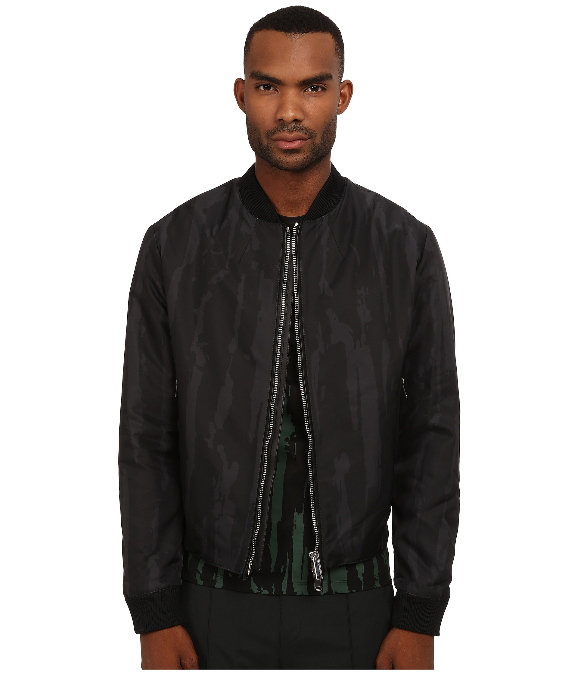 Costume national Woven Bomber Jacket in Gray for Men | Lyst