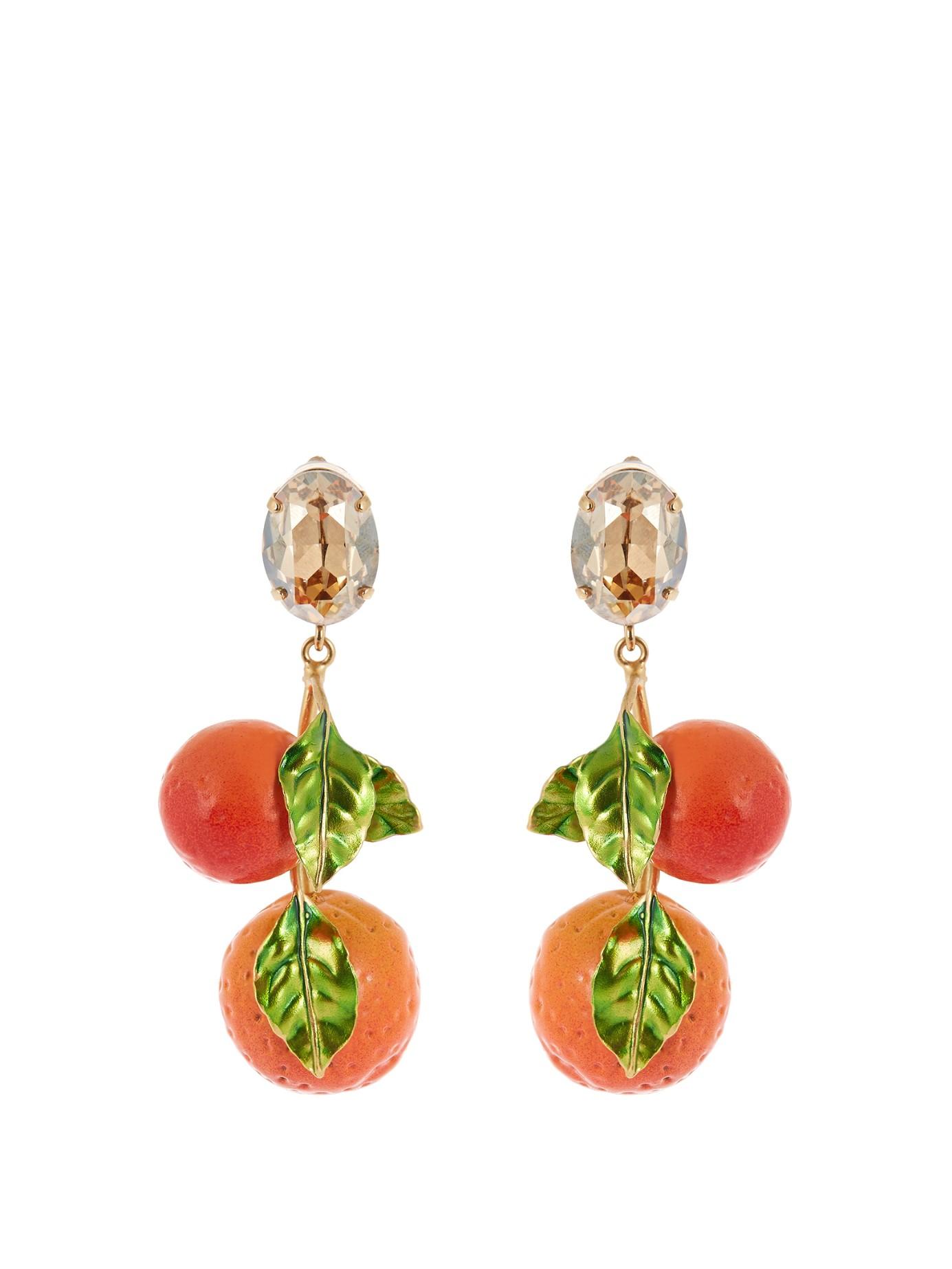Dolce & gabbana Orange Drop Earrings in Orange