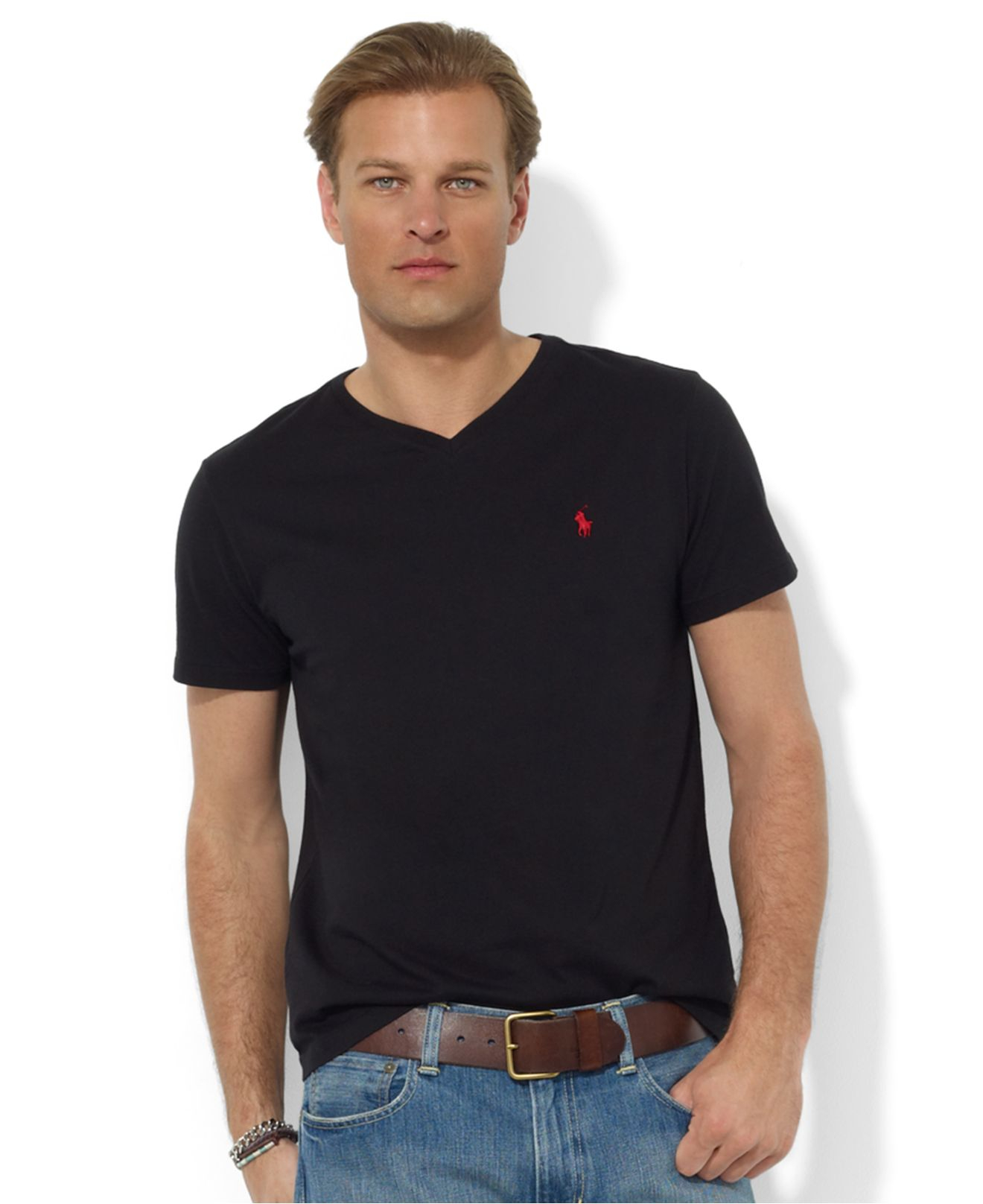 lyst polo ralph lauren core medium fit v neck t shirt in black for men. Black Bedroom Furniture Sets. Home Design Ideas