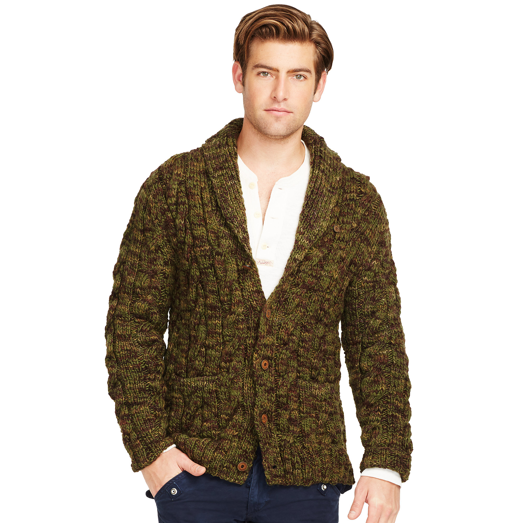 Polo ralph lauren Camo Wool Shawl Cardigan in Green for Men | Lyst