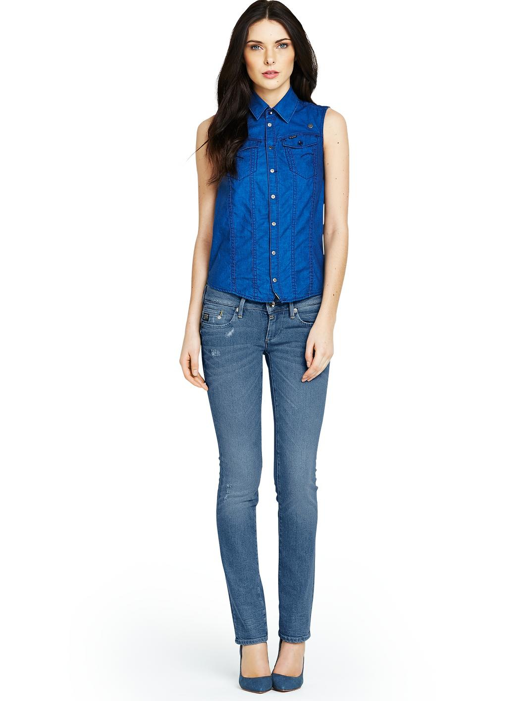 g star raw midge straight leg jeans in blue medium aged lyst. Black Bedroom Furniture Sets. Home Design Ideas