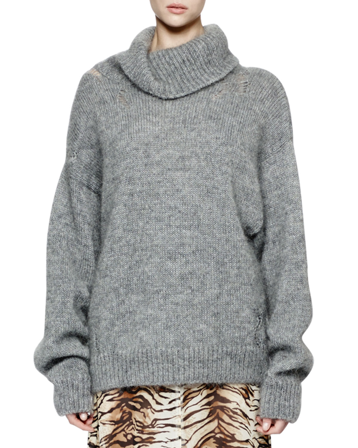 Saint laurent Oversized Knit Turtleneck Sweater in Gray | Lyst