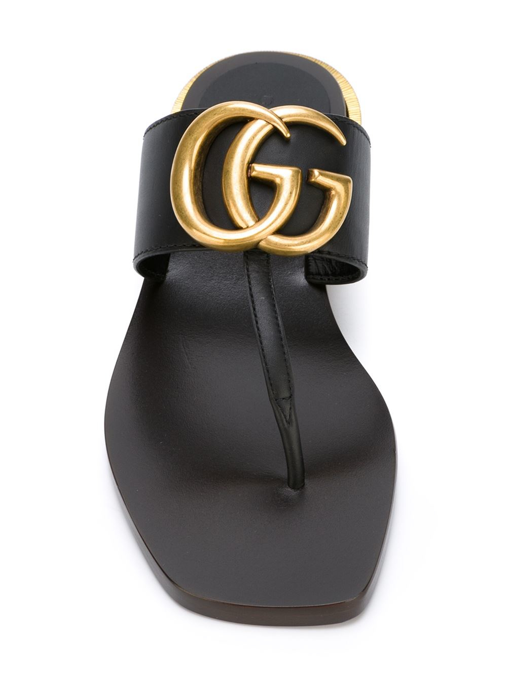 c69cfa313 Lyst - Gucci Double-G Leather Sandals in Black