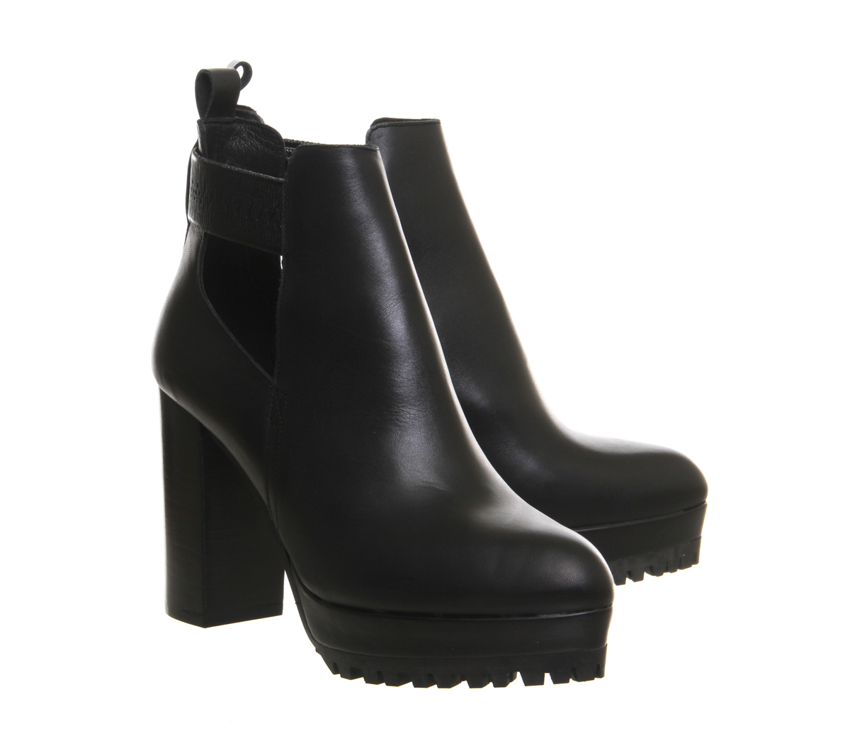 office frolic cut out cleated shoe boots in black save