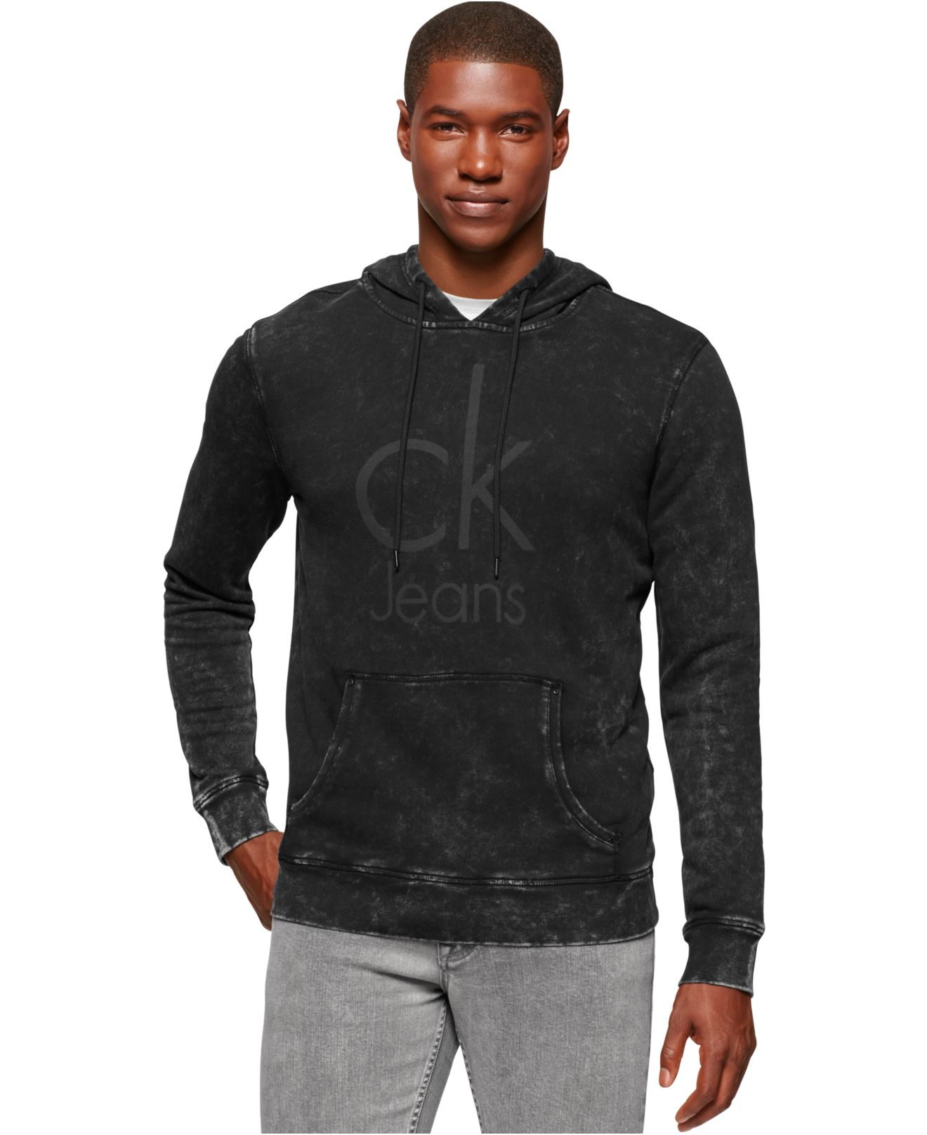 calvin klein jeans acid wash logo hoodie in black for men. Black Bedroom Furniture Sets. Home Design Ideas