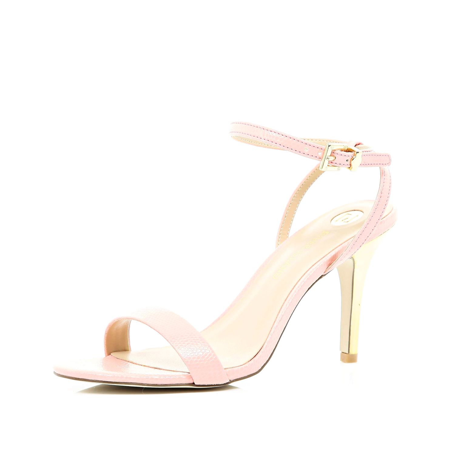 006f4078e756 River Island Pale Pink Barely There Mid Heel Sandals in Pink - Lyst