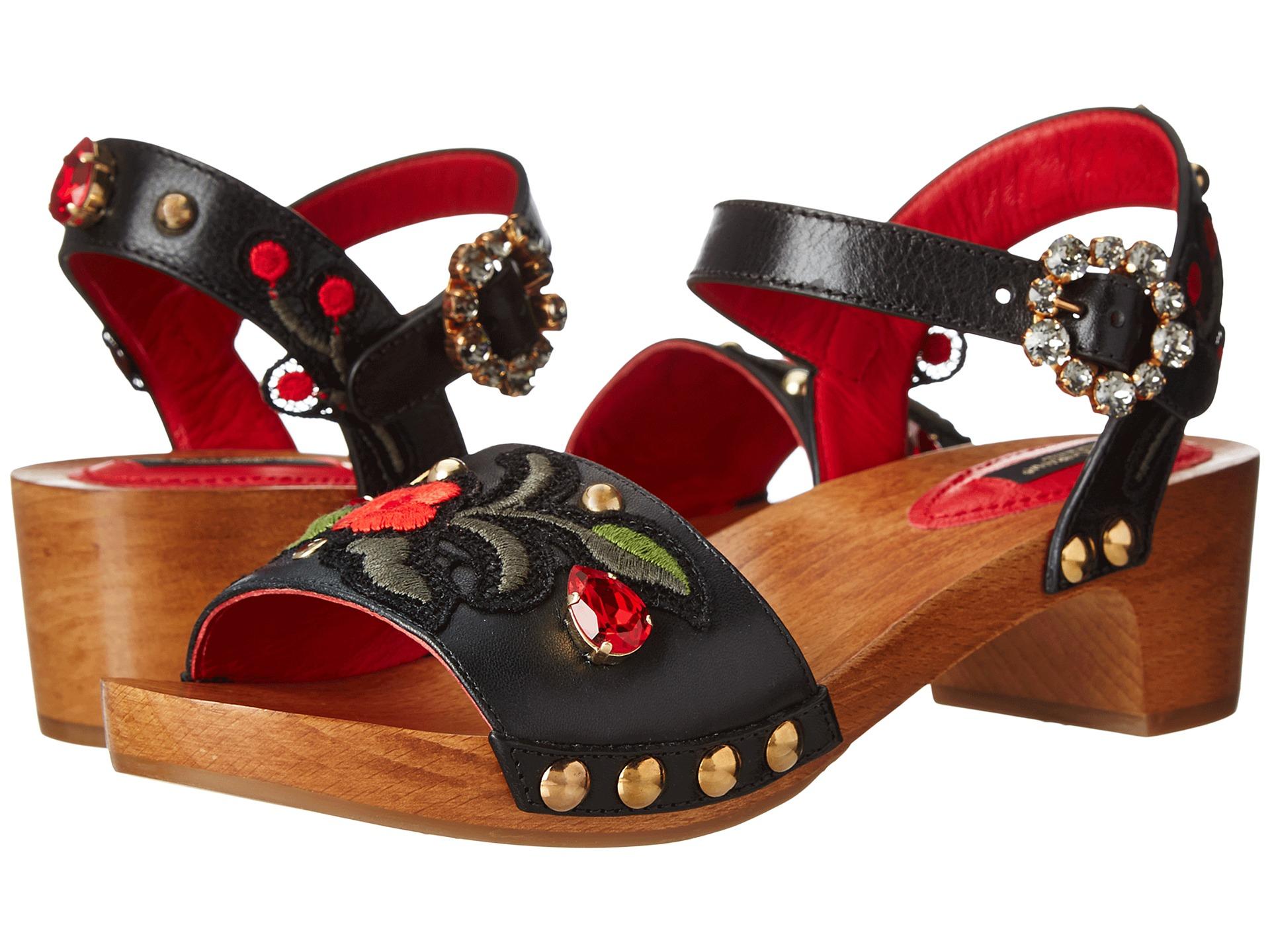 Lyst dolce gabbana wood base sandal w floral applique in black